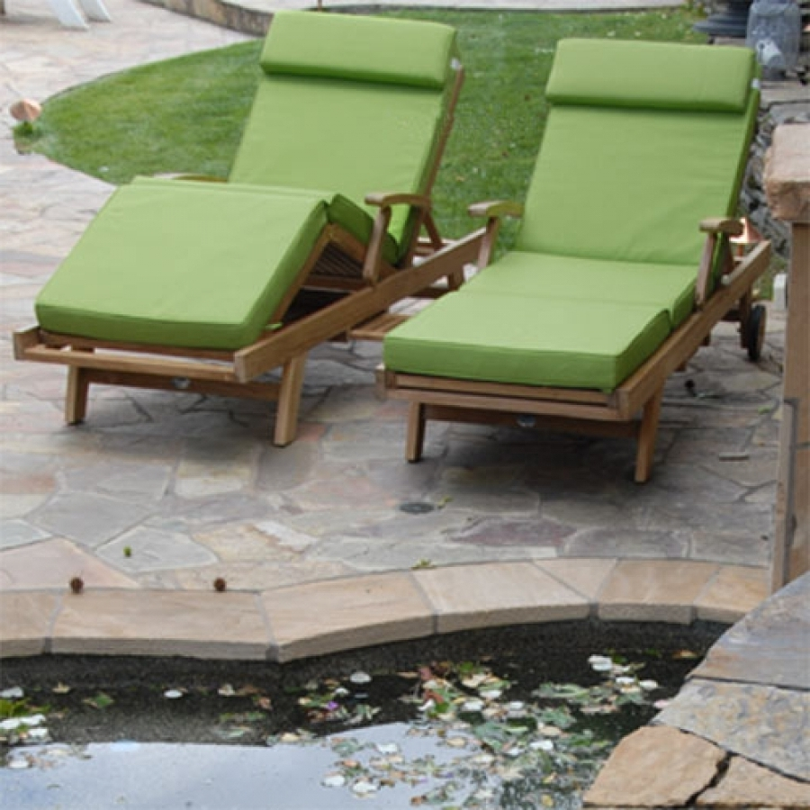 Most Recent Hardwood Chaise Lounge Chairs Regarding Sunbrella Chaise Lounge Cushion (View 10 of 15)