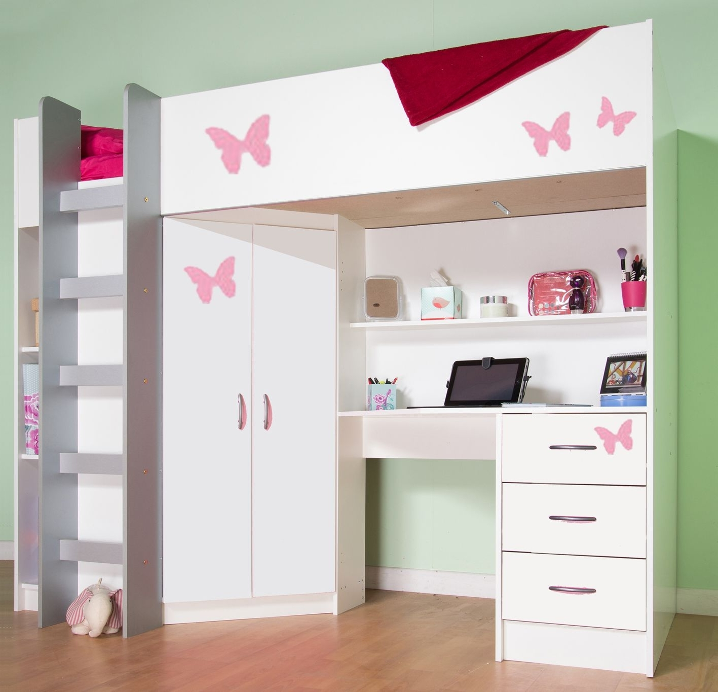 Most Recent High Sleeper Cabin Bed, With Desk And Wardrobe (View 7 of 15)