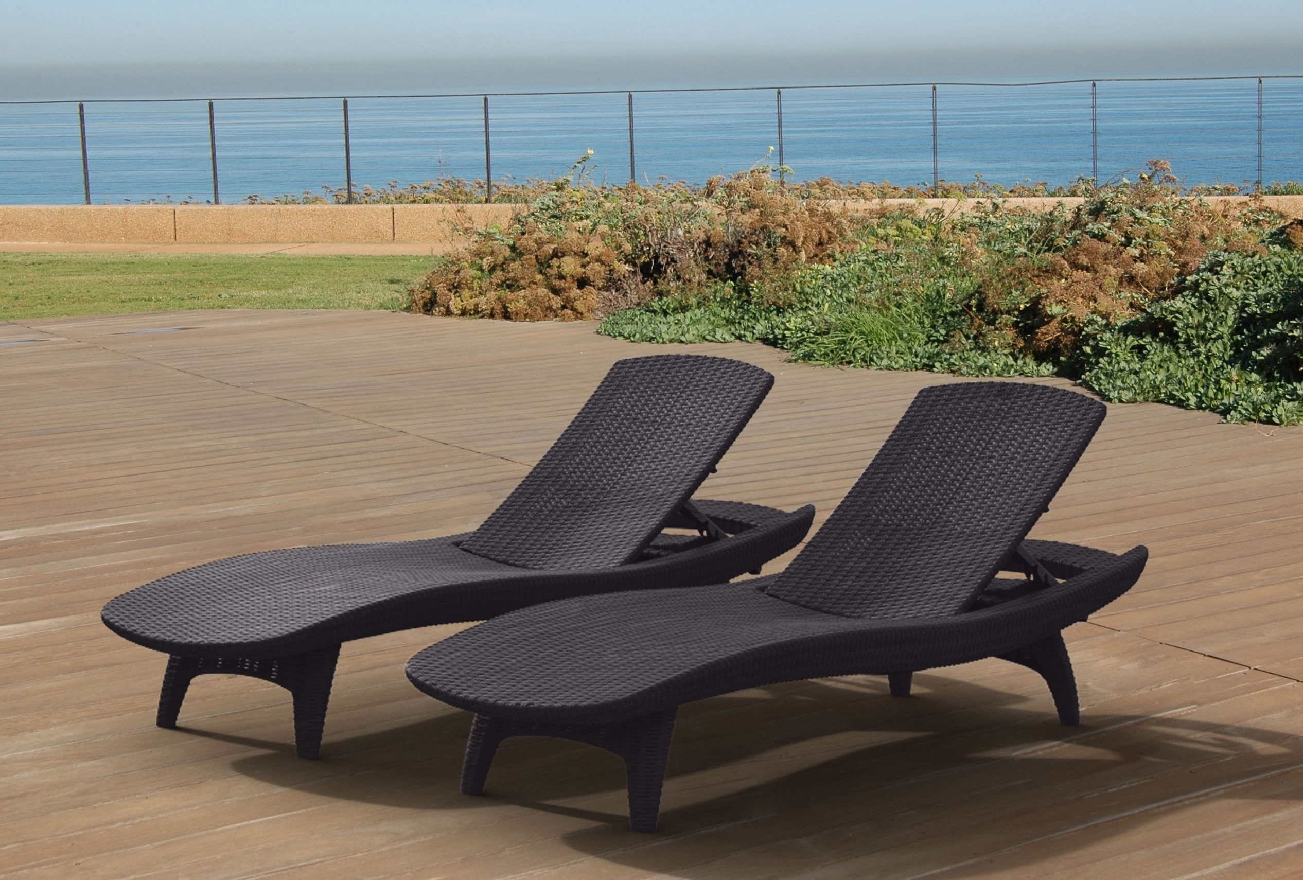 Most Recent Keter Pacific Chaise Sun Lounger 2 Pack Adjustable, Grey – Walmart Intended For Keter Chaise Lounge Chairs (View 11 of 15)