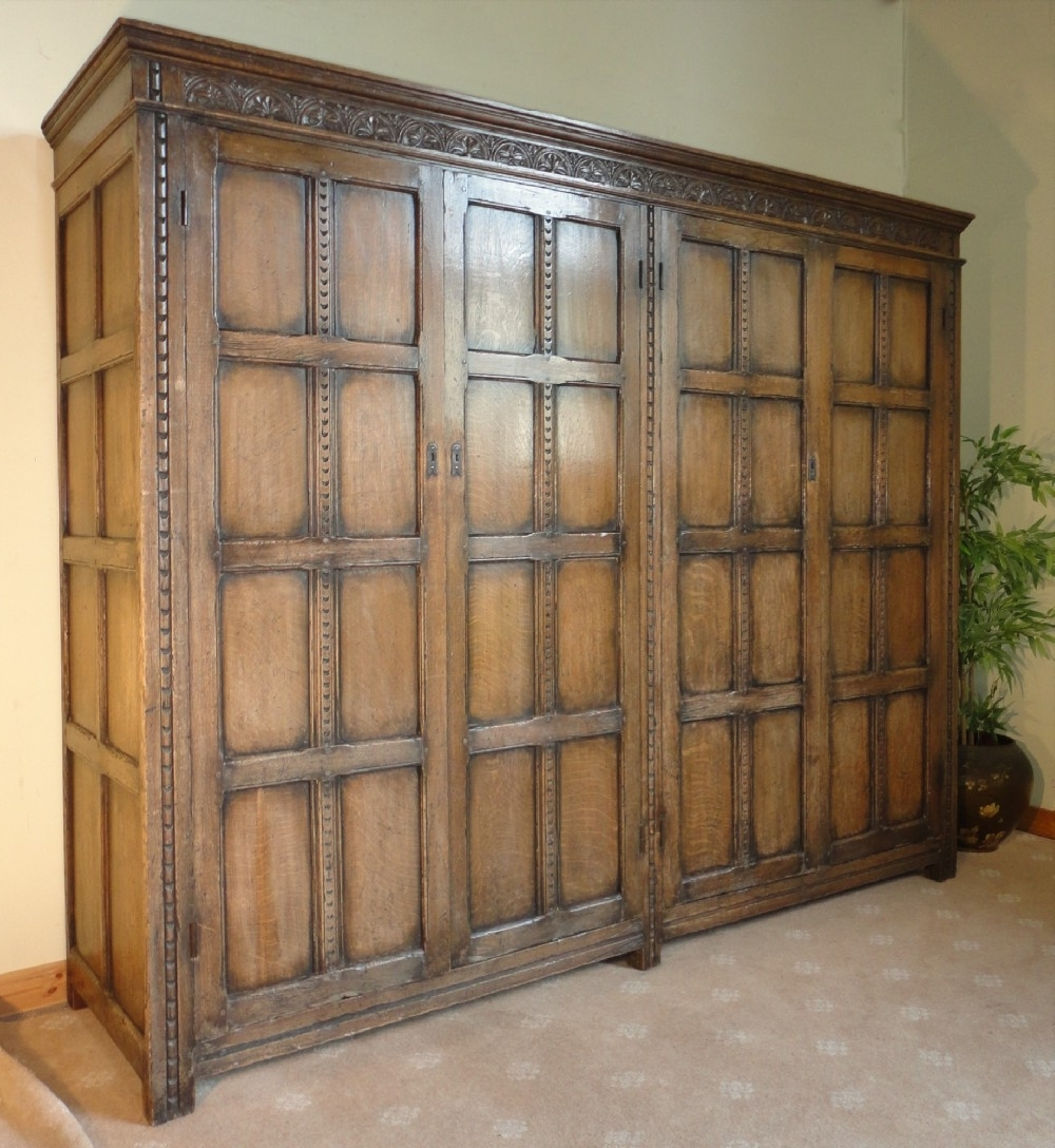 Most Recent Late Victorian Jacobean Style Oak Wardrobe (View 8 of 15)