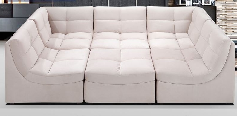 Most Recent Leather Modular Sectional Sofas Within Cloud Beige Upholstered Fabric Modular Sectional Sofa (View 8 of 10)