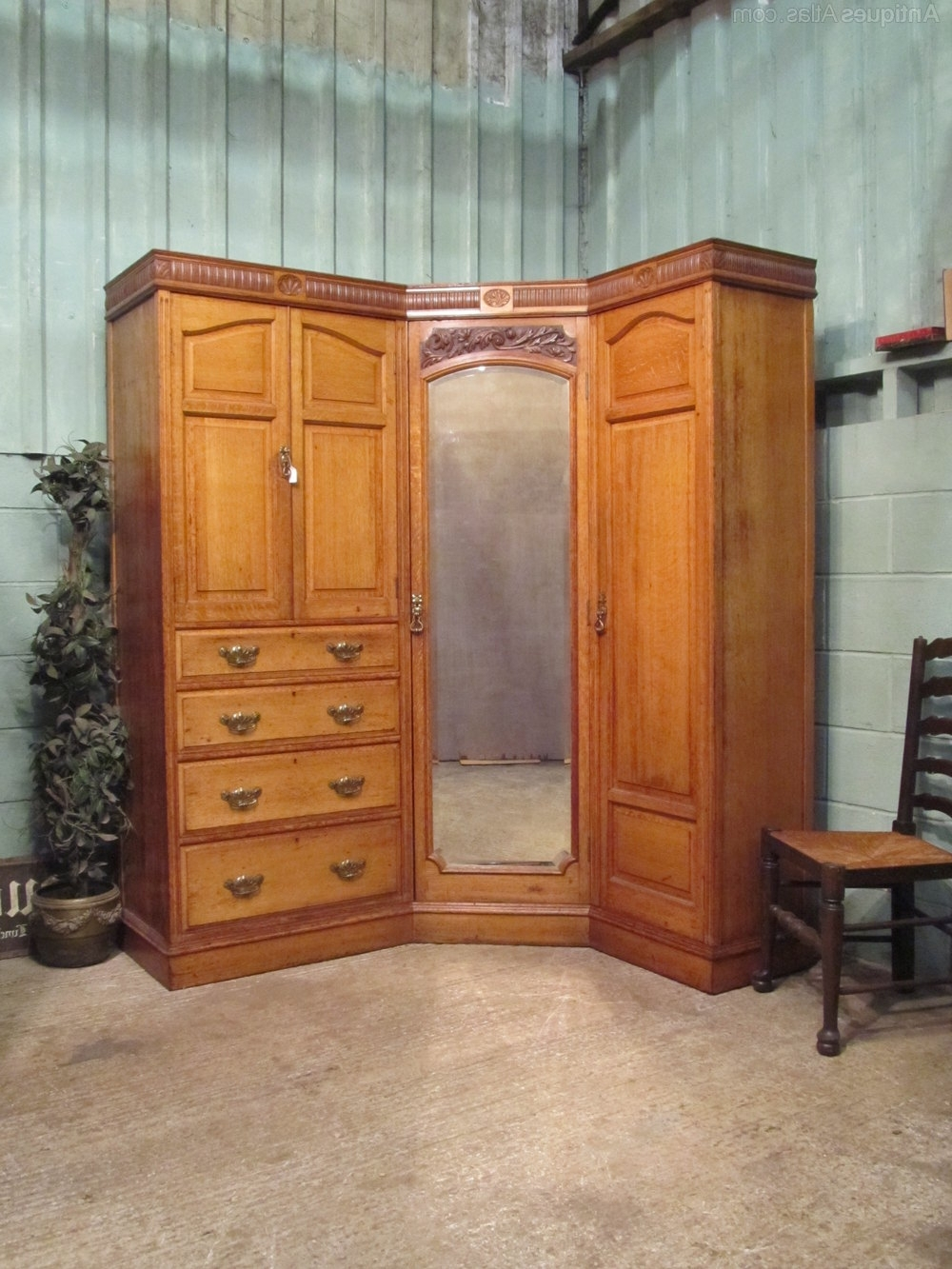 Most Recent Oak Corner Wardrobes For Antique Edwardian Oak Corner Wardrobe Compactum – Antiques Atlas (View 4 of 15)