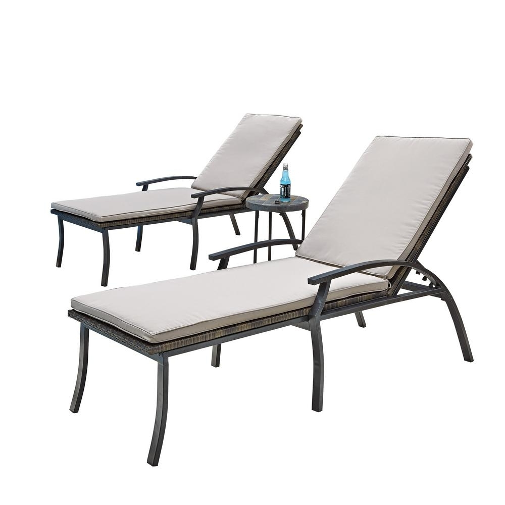 Most Recent Outdoor Metal Chaise Lounge Chairs In Home Styles Laguna Black Woven Vinyl And Metal Patio Chaise Lounge (View 6 of 15)