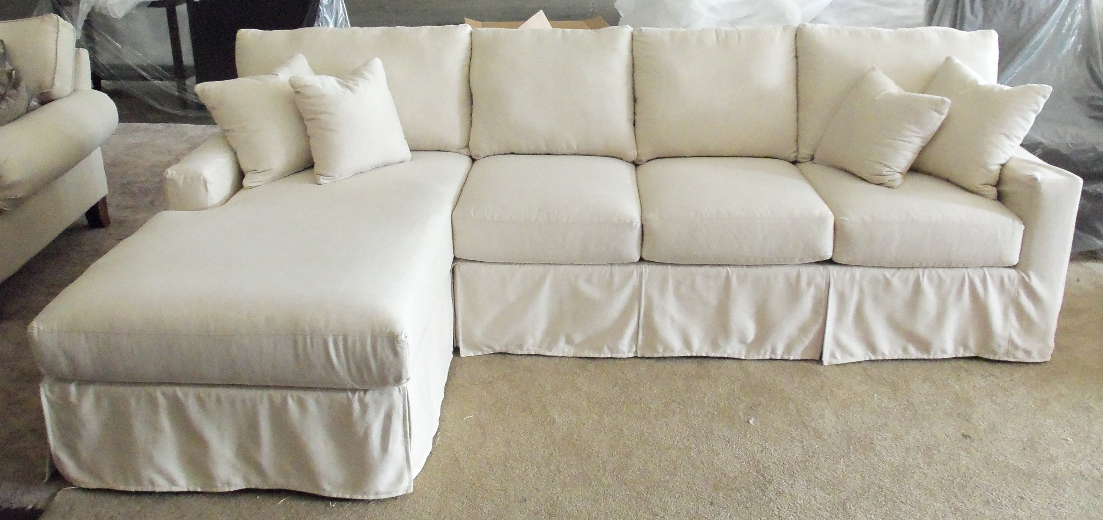 Most Recent Sectional Sofa With Microfiber Chaise Together Loveseat In With Regard To Chaise Slipcovers (View 7 of 15)
