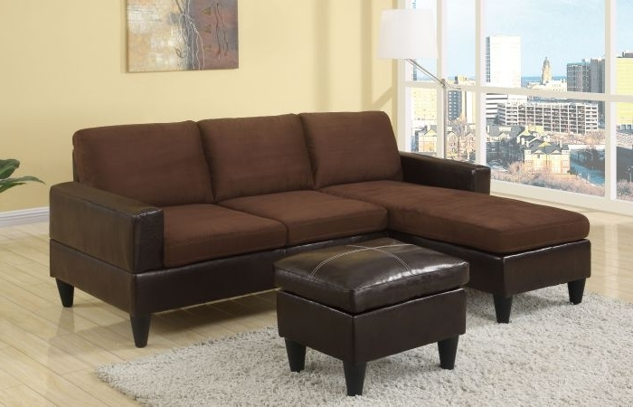 Most Recent Sectional Sofas With Ottoman Throughout Poundex F7291 Chocolate Microfiber Sectional Sofa W/ Ottoman (View 6 of 16)