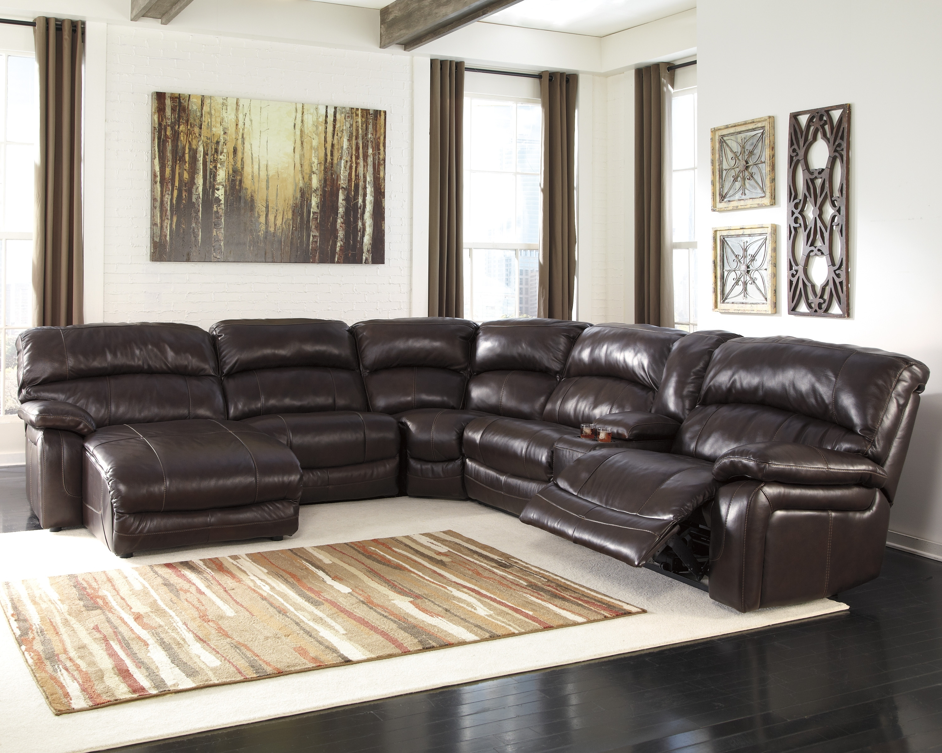 Most Recent Sectional Sofas With Recliners And Chaise With Regard To Leather Sectional Sofas With Recliners And Cup Holders Sectional (View 6 of 15)