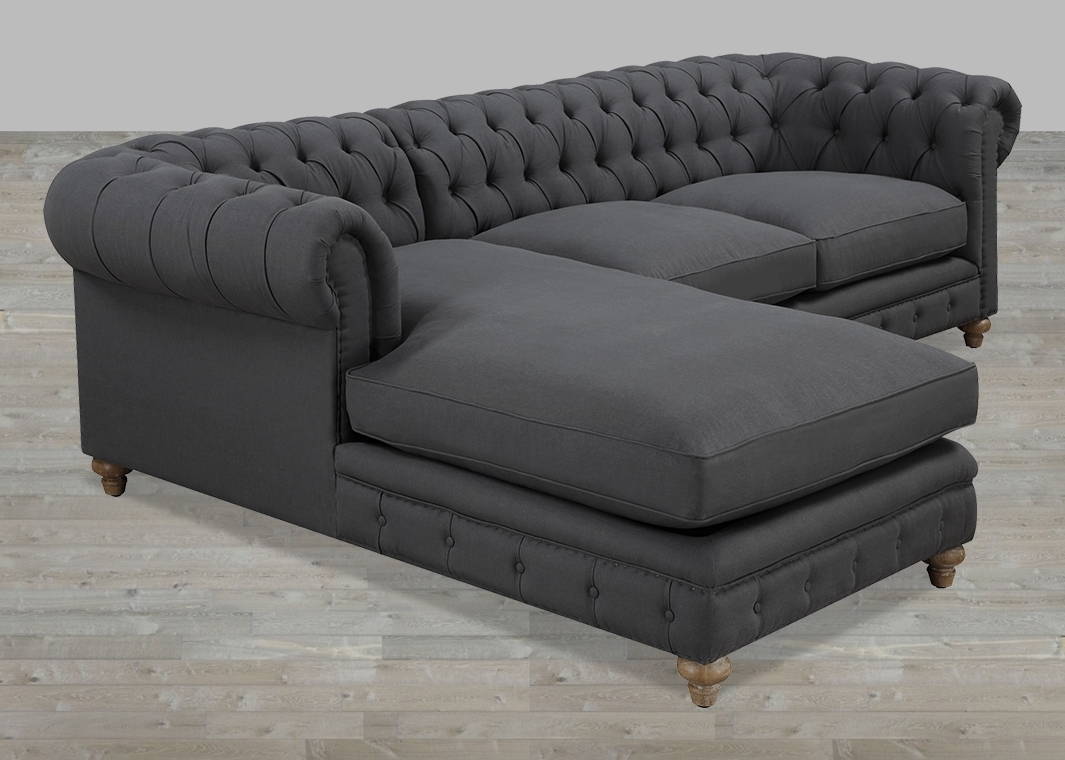 Most Recent Small Chaise Sofas Regarding Beautiful Tufted Sectional Sofa With Chaise Additional Small (View 5 of 15)