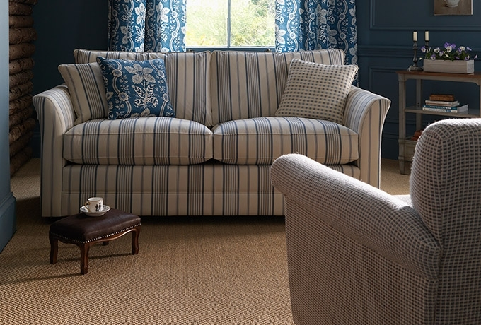 Most Recent Striped Sofas And Chairs Regarding Enstone Sofa In Ian Sanderson Nilson Stripe, French Blue Ticking (View 2 of 10)
