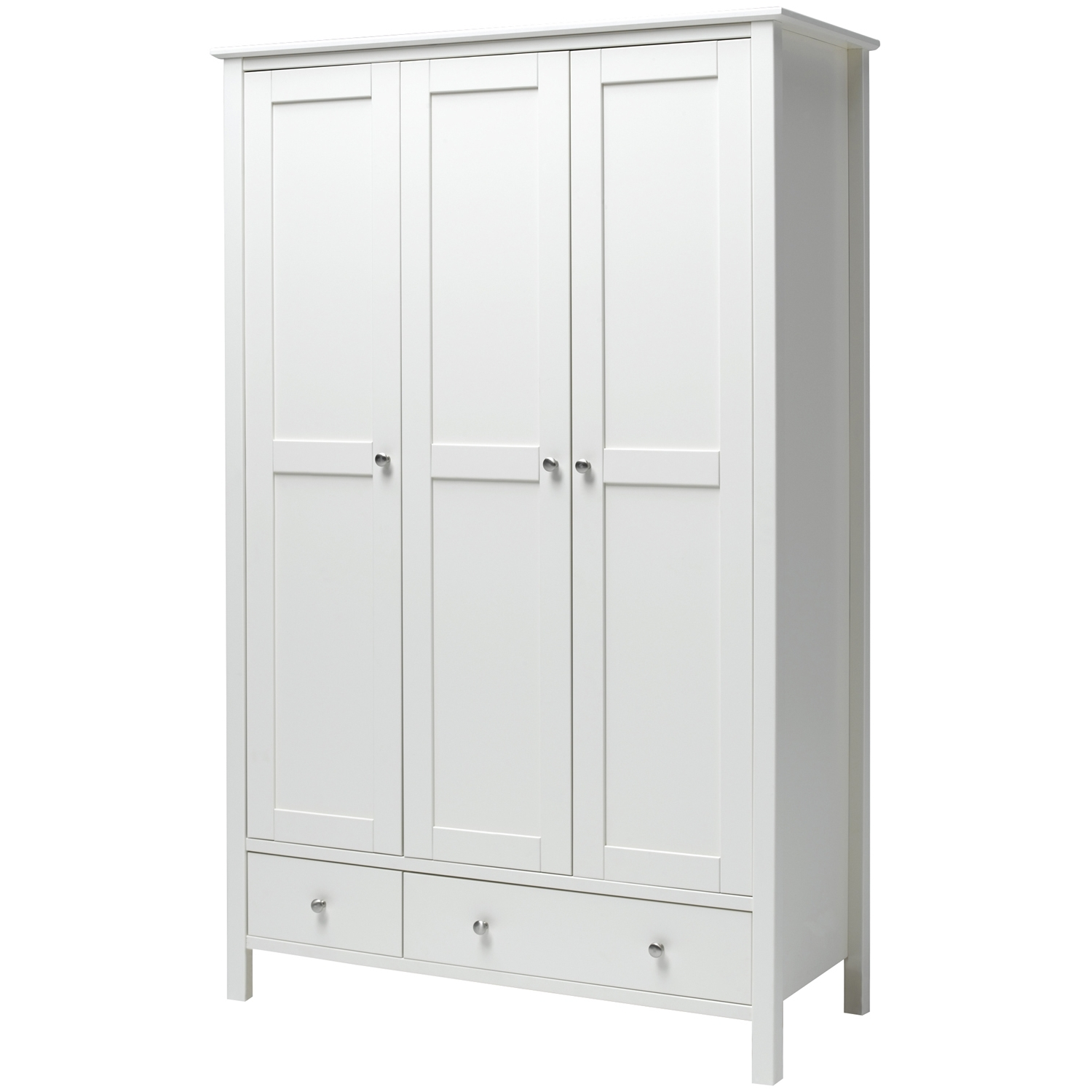 Most Recent White 3 Door Wardrobes Pertaining To Stockholm 3 Door 2 Drawer Wardrobe White – Simply Furniture (View 4 of 15)