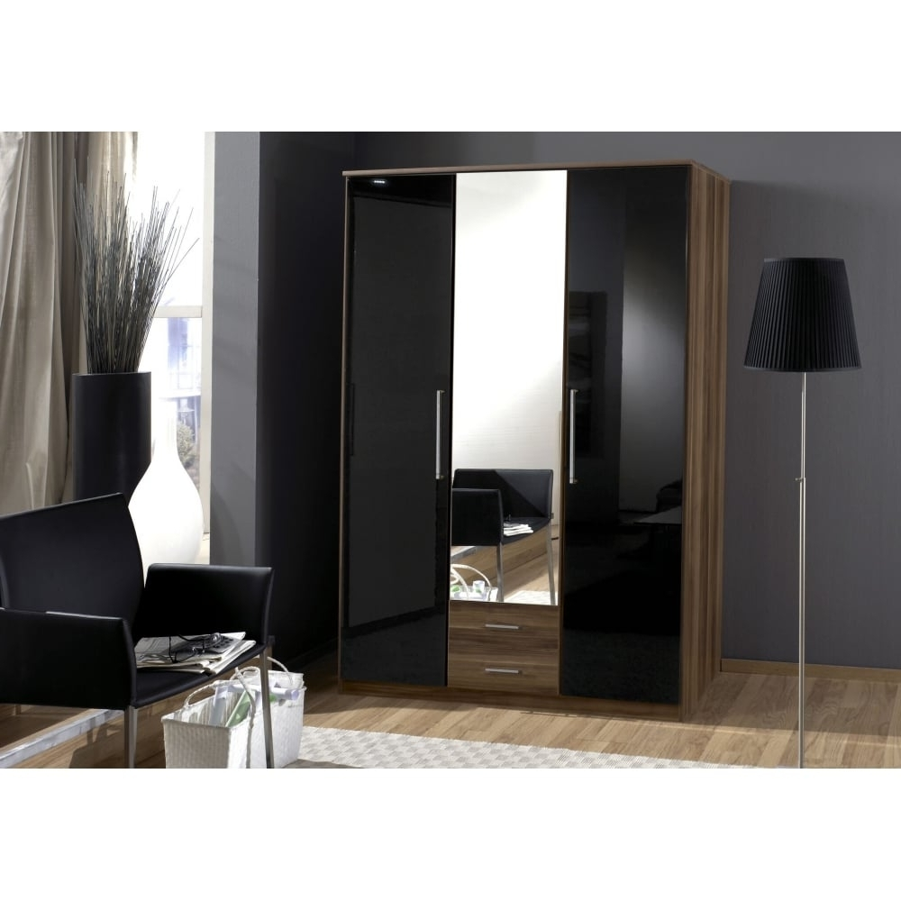 Most Recently Released 3 Door Black Gloss Wardrobes Pertaining To 3 Door 2 Draw Mirrored Black Gloss And Walnut Wardrobe (View 14 of 15)
