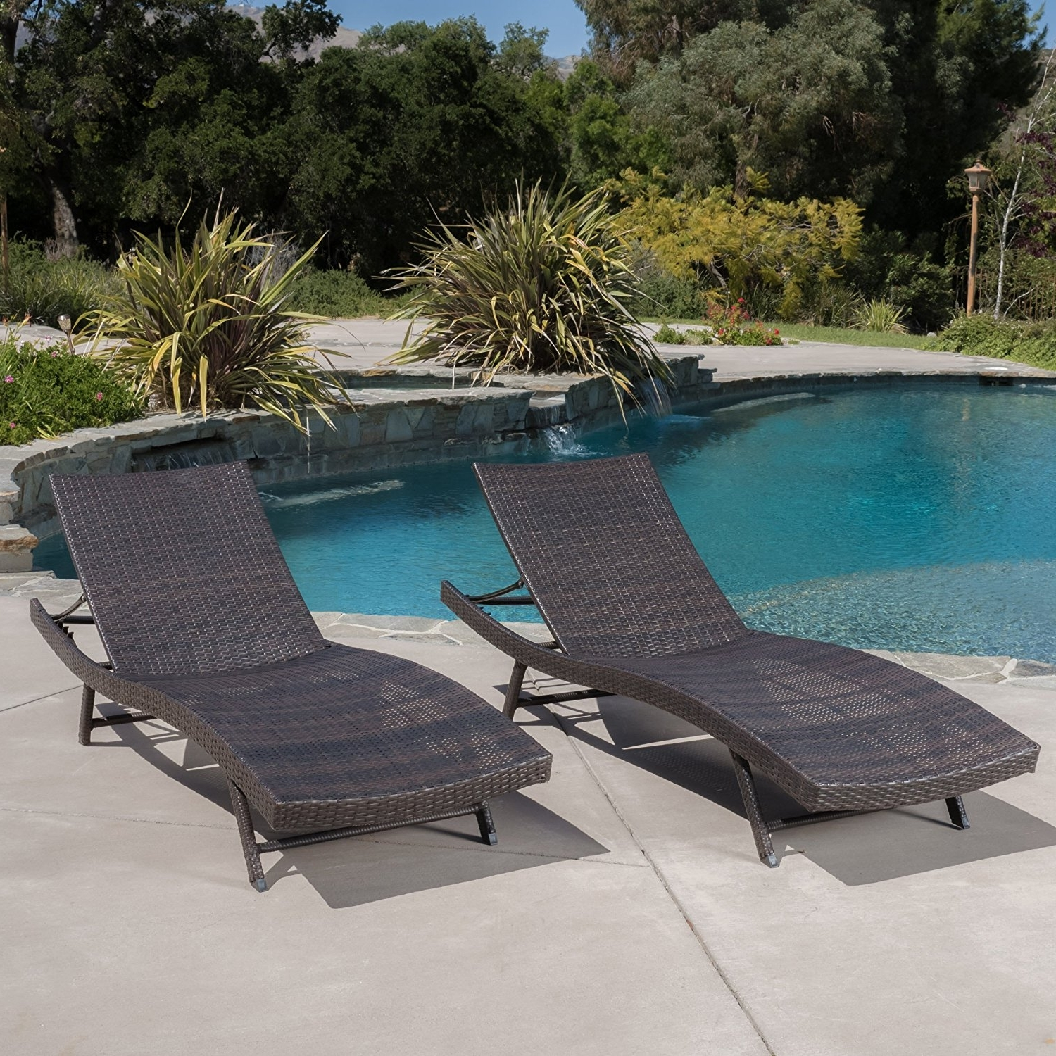 Most Recently Released Amazon: Eliana Outdoor Brown Wicker Chaise Lounge Chairs (Set Intended For Eliana Outdoor Brown Wicker Chaise Lounge Chairs (View 13 of 15)