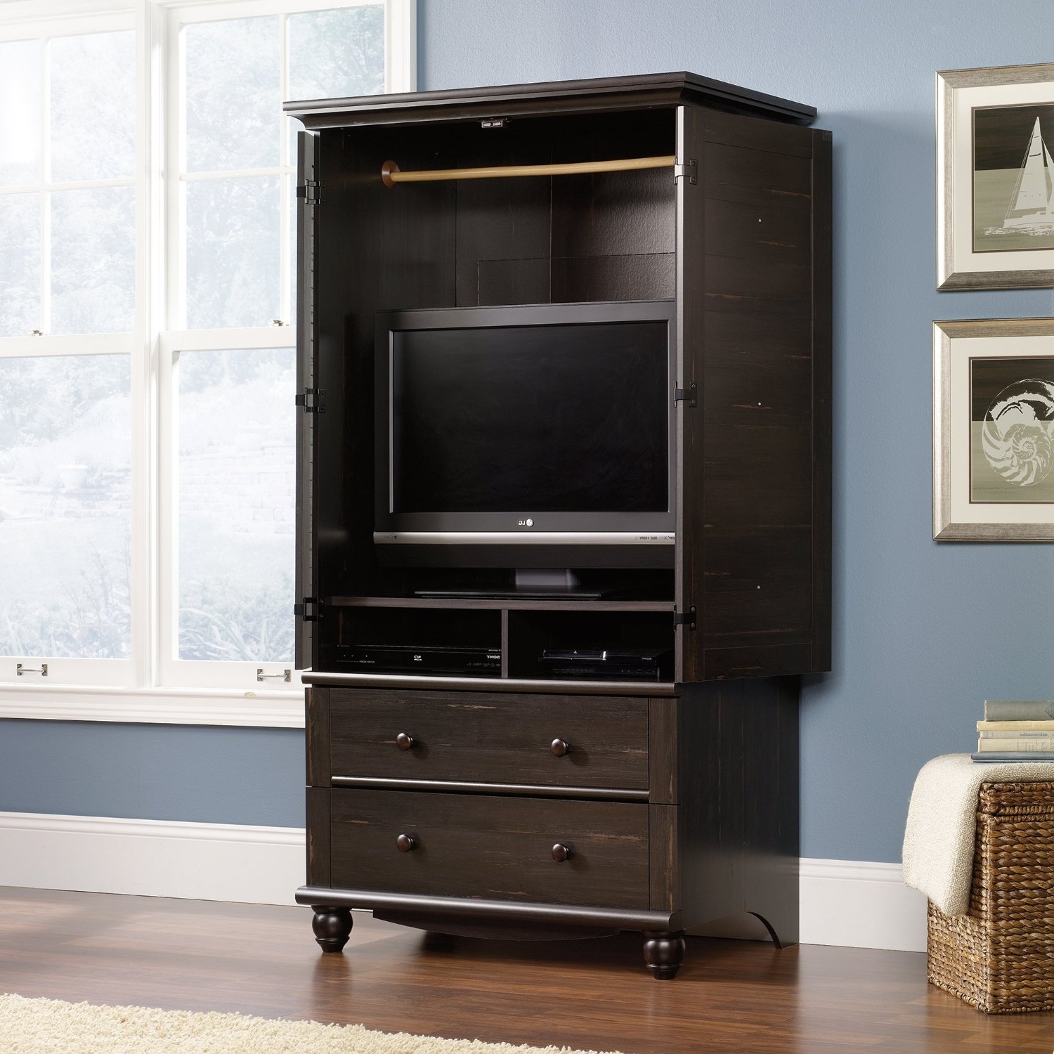 Most Recently Released Bedroom: Antique Interior Storage Design With Wardrobe Armoire For Wicker Armoire Wardrobes (View 2 of 15)
