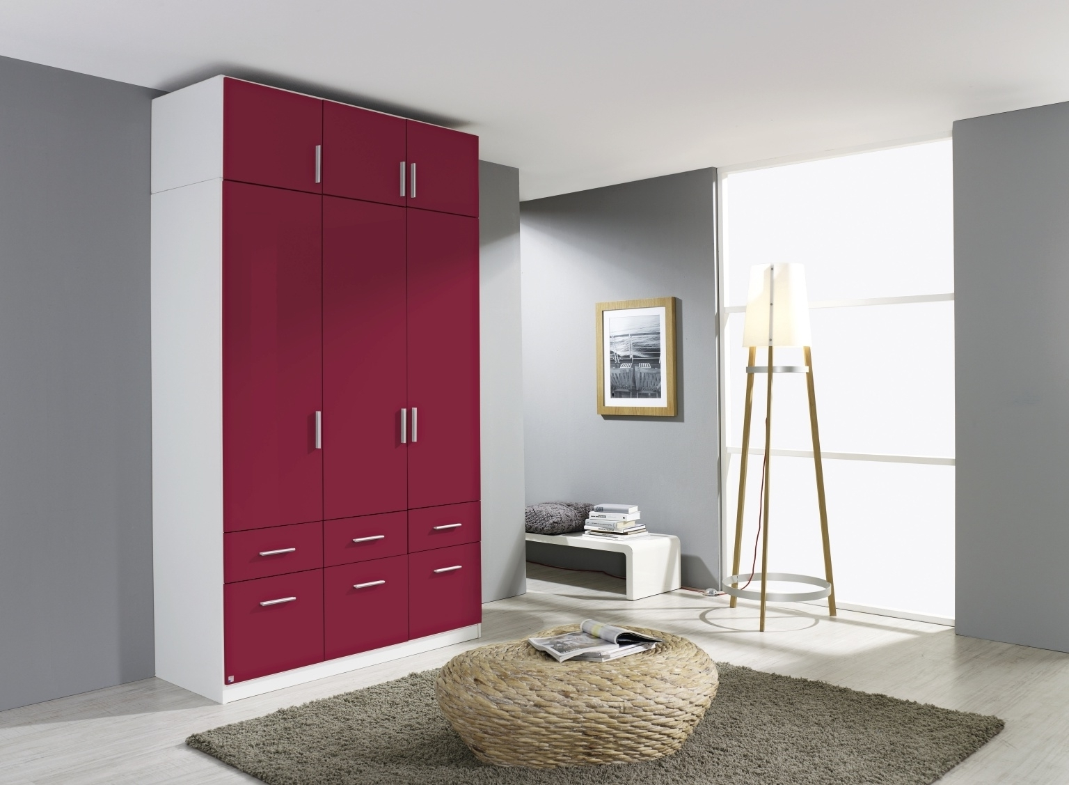 Most Recently Released Bordeaux Wardrobes For Buy Rauch Celle Alpine White With High Polish Bordeaux 3 Door (View 11 of 15)