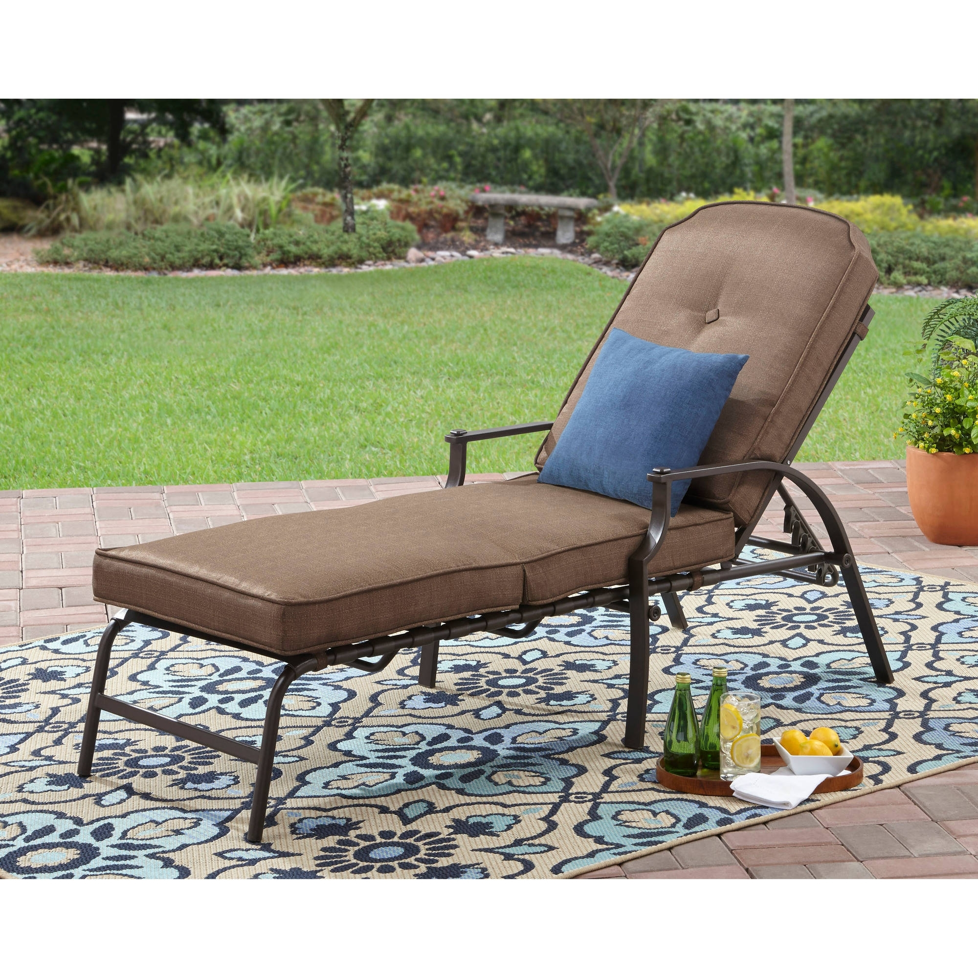 Most Recently Released Chaise Lounge Chairs At Walmart Intended For Mainstays Wentworth Chaise Lounge – Walmart (View 12 of 15)