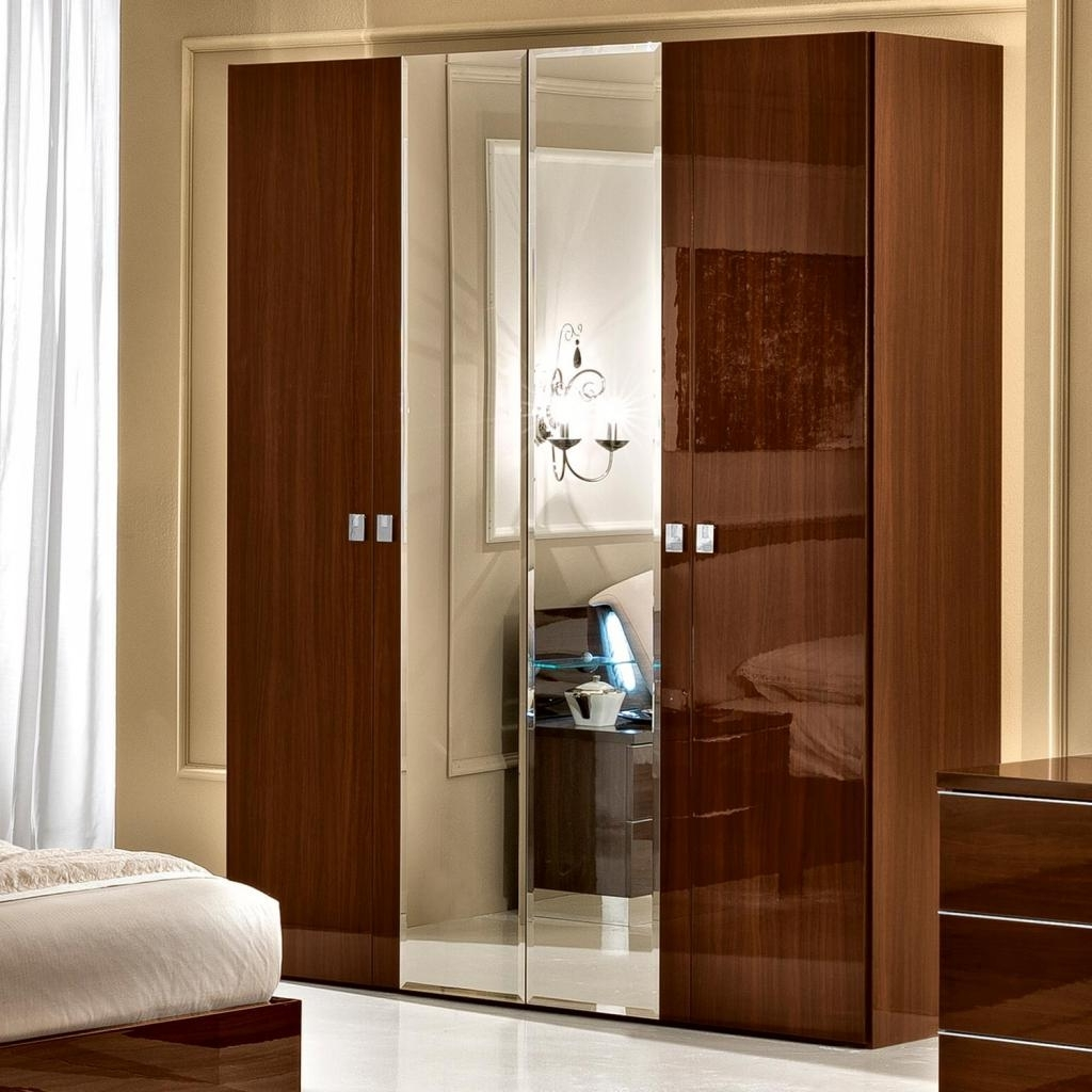 Most Recently Released High Gloss Doors Wardrobes Intended For Caligula White Or Walnut High Gloss/mirrored 4 Door Wardrobe : F D (View 5 of 15)