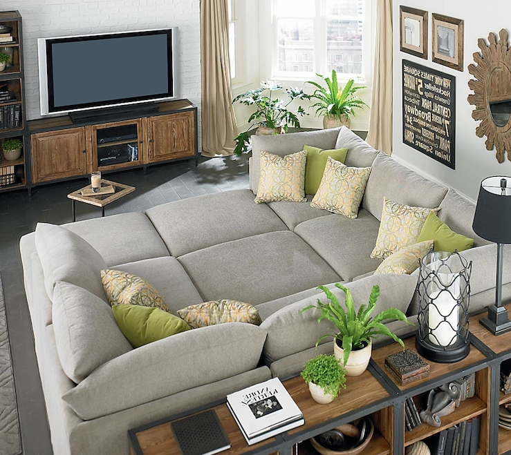 Most Recently Released Huge Sofas Inside Huge Gray Bassett Beckham Pit Sectional Sofa, Green Pillows (View 3 of 10)