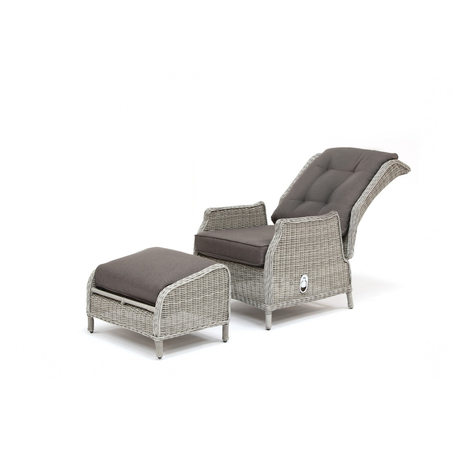 Most Recently Released Kettler Jarvis Recliner With Footstool – White Wash Inc Taupe Cushions Pertaining To Kettler Chaise Lounge Chairs (View 12 of 15)