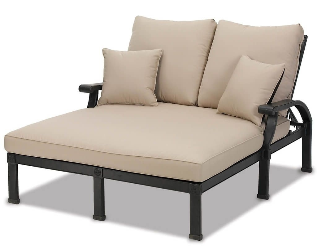 Most Recently Released Outdoor: Outdoor Metal Double Chaise Lounge With Cushion – Luxury Within Outdoor Double Chaises (View 3 of 15)