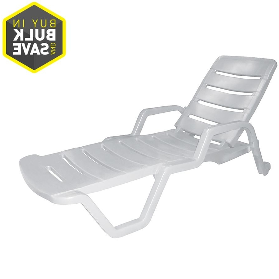 Most Recently Released Patio Chaise Lounge Chairs Intended For Adams Mfg Corp White Resin Stackable Patio Chaise Lounge Chair (View 11 of 15)