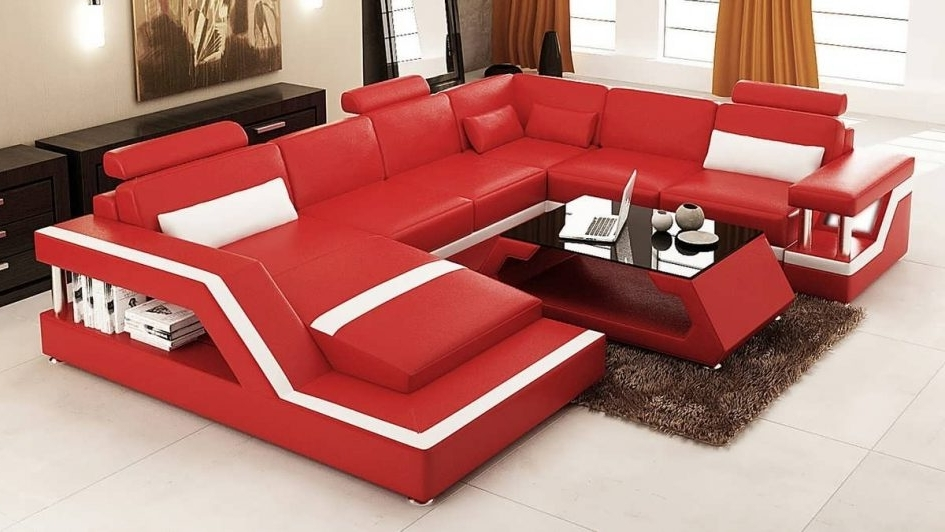 Most Recently Released Red Leather Sectionals With Chaise Throughout Sectional Best Sofa Modern Leather Piece Blue Modular Black Red (View 7 of 10)