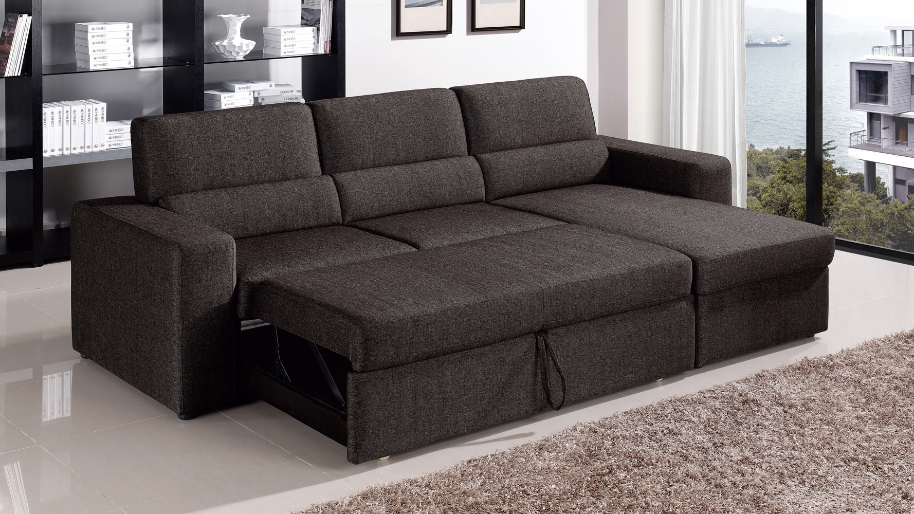 Most Recently Released Sectional Sleeper Sofas With Chaise Pertaining To Black/brown Clubber Sleeper Sectional Sofa (View 10 of 15)