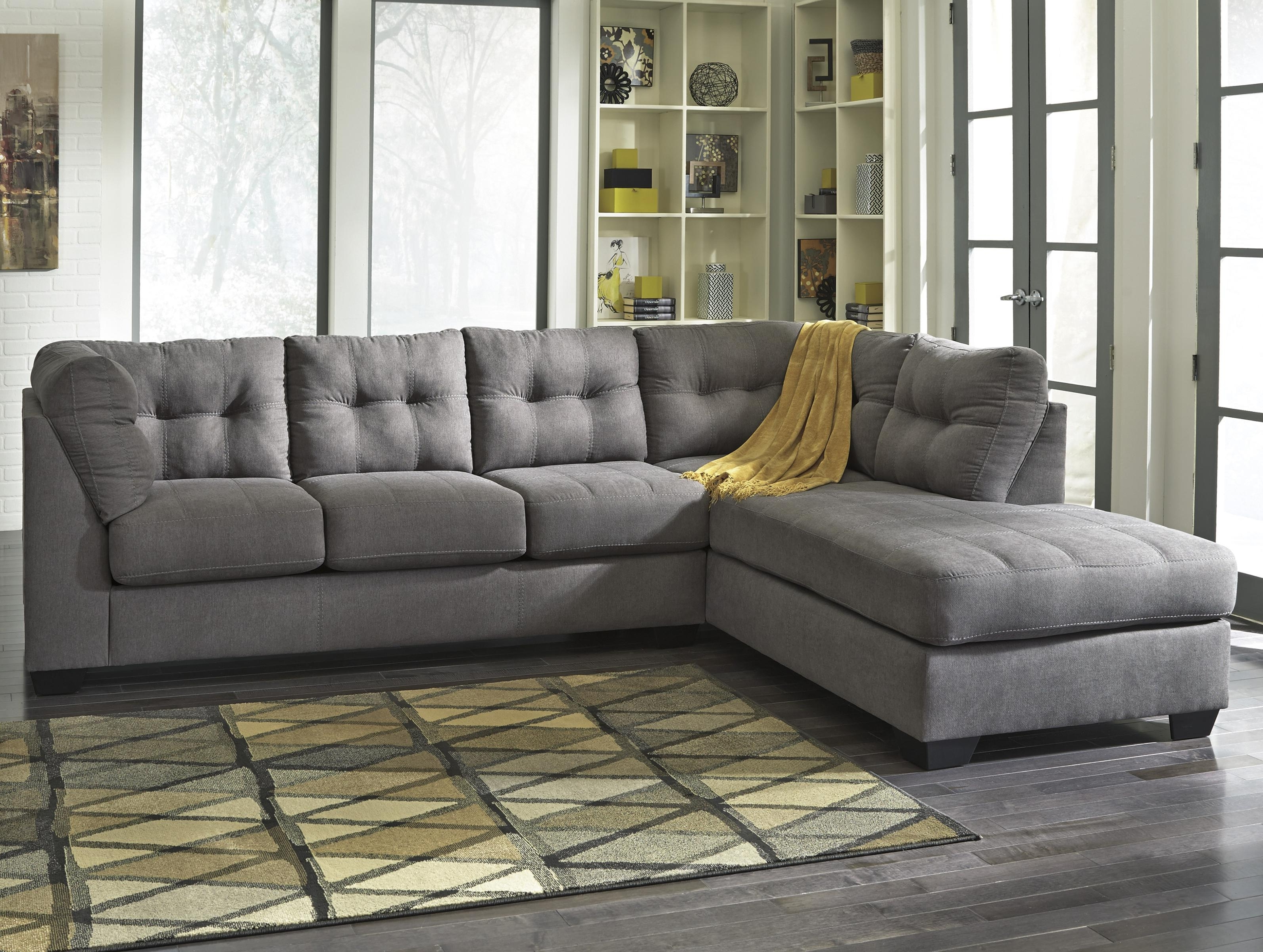 Most Recently Released Sectional Sofas With Cuddler Chaise Within Benchcraft Maier – Charcoal 2 Piece Sectional W/ Sleeper Sofa (View 14 of 15)