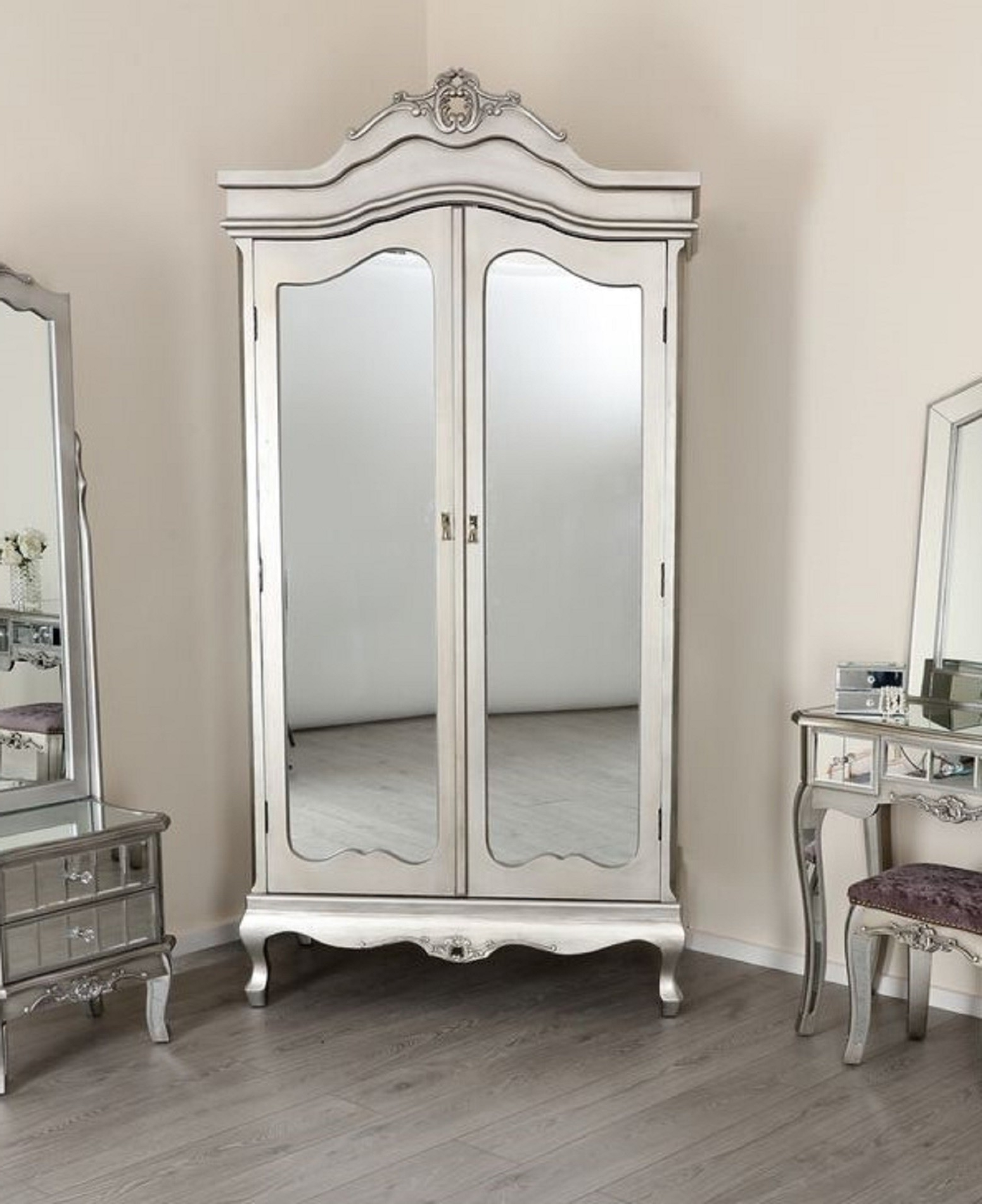 Most Recently Released Sophia Wardrobes With Regard To Sophia 2 Door Mirrored Wardrobe French Shabby Chic Silver Vintage (View 11 of 15)