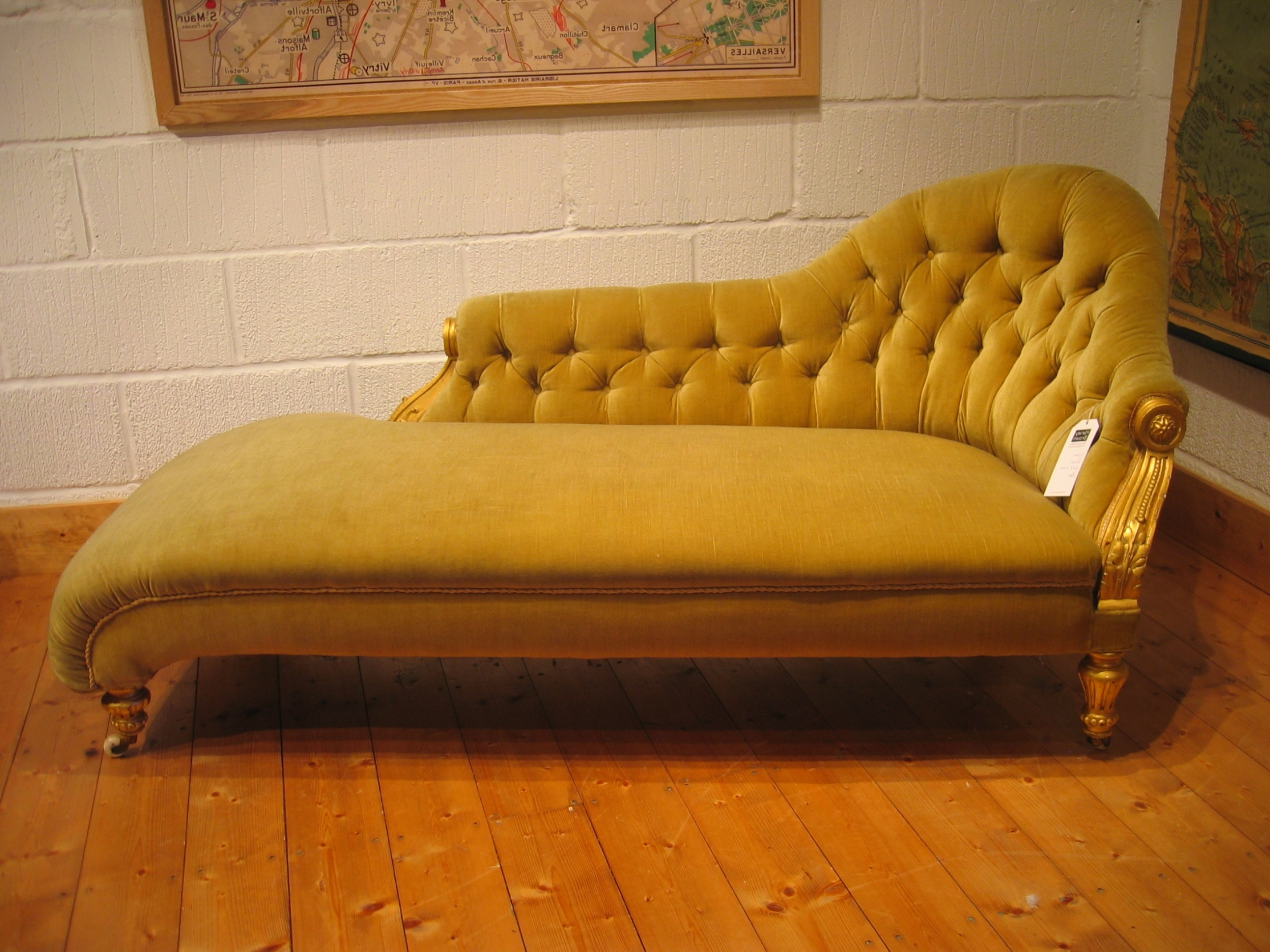 Most Recently Released Vintage Indoor Chaise Lounge Chairs Pertaining To Home Decor: Yellow Color Antique Victorian Chaise Lounge Sofa Bed (View 8 of 15)