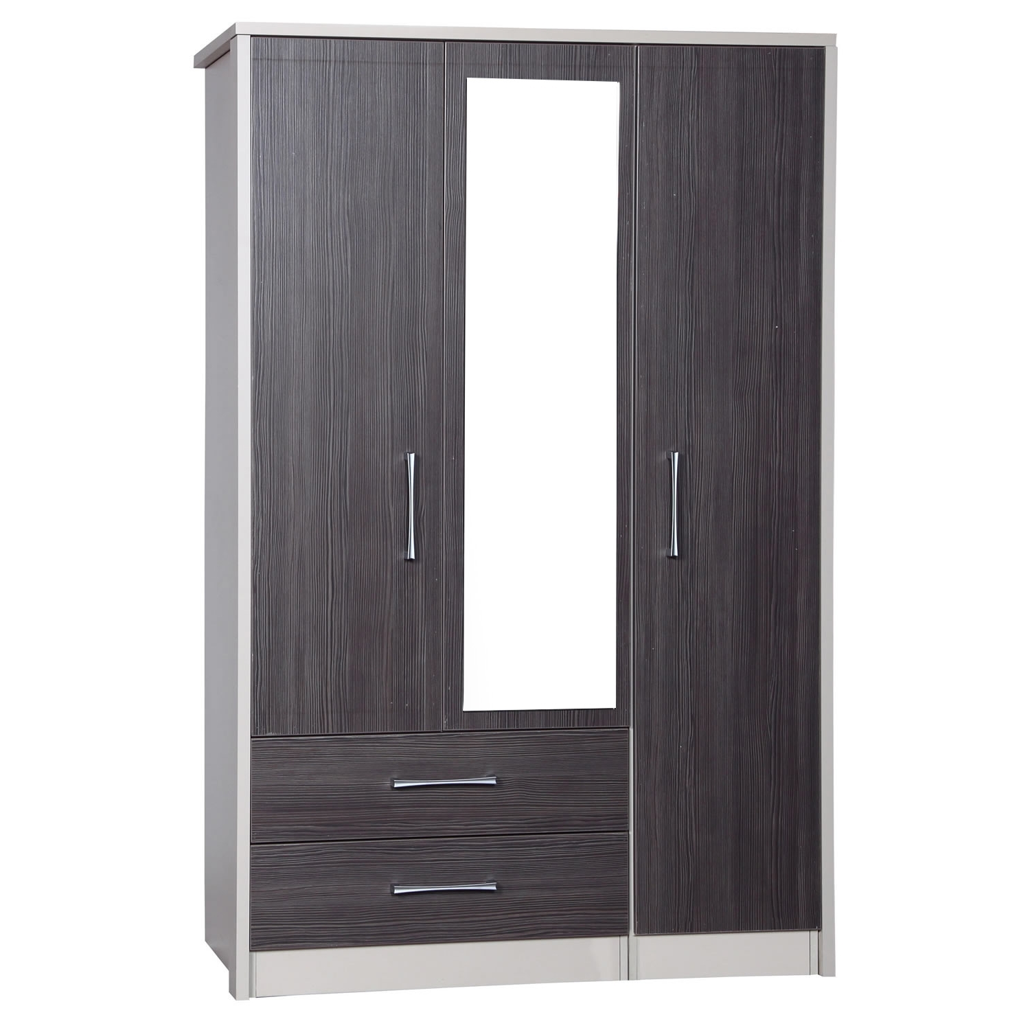 Most Recently Released Wardrobes 3 Door With Mirror Intended For Avola Grey 3 Door 2 Drawer Combi Wardrobe With Mirror – Next Day (View 5 of 15)