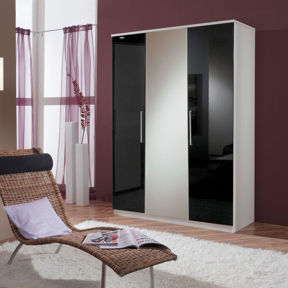 Most Up To Date 3 Door Black Gloss Wardrobes Intended For Munich 3 Door German Wardrobe Black Gloss And Alpine White – Furnicomp (View 12 of 15)