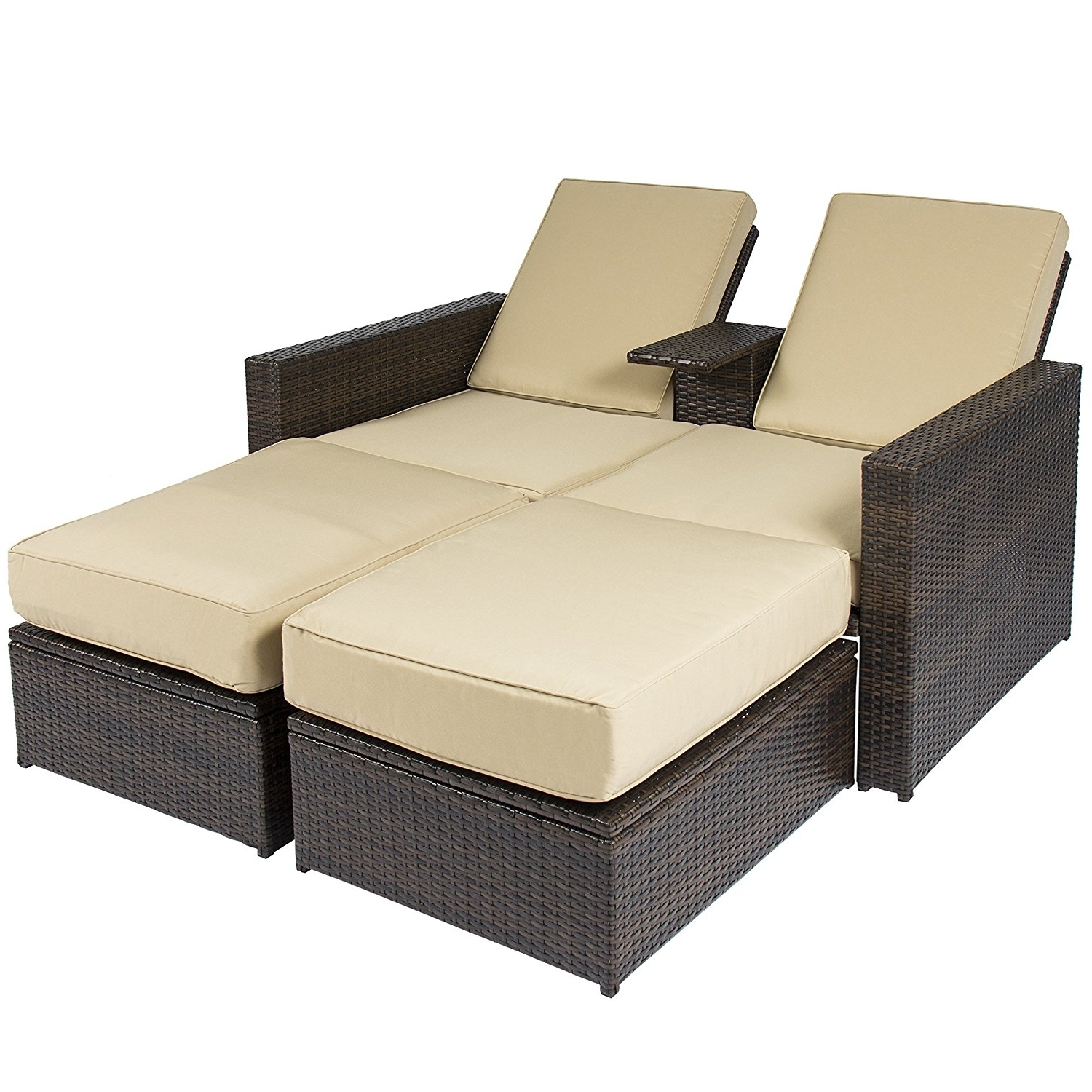 Most Up To Date Double Chaise Lounge Chairs Regarding Amazon : Best Choice Products Outdoor 3pc Rattan Wicker Patio (View 15 of 15)