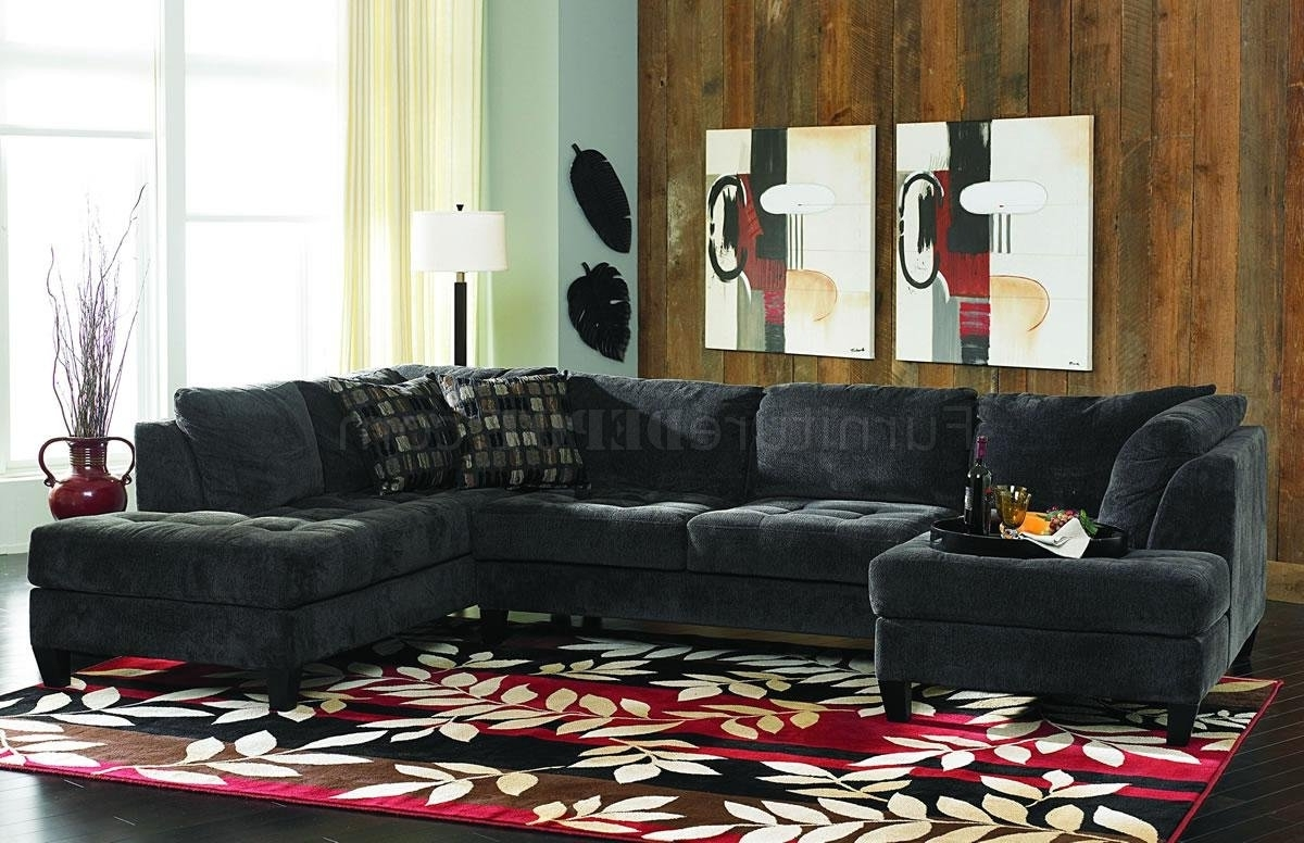 Most Up To Date Double Chaise Sofas Regarding Charcoal Gray Fabric Contemporary Double Chaise Sectional Sofa (View 10 of 15)