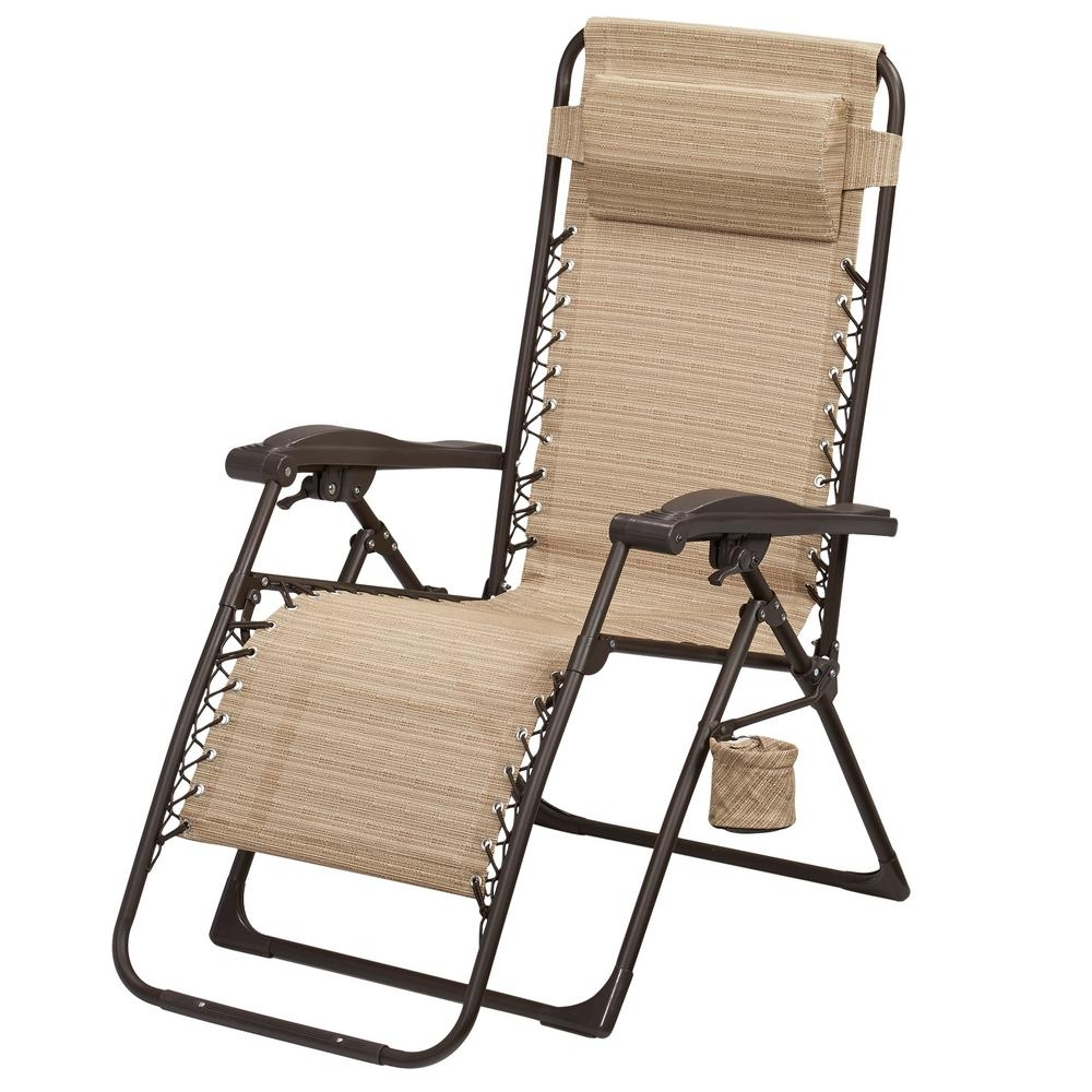 Most Up To Date Folding Chaise Lounge Lawn Chairs Throughout Hampton Bay Mix And Match Zero Gravity Sling Outdoor Chaise Lounge (View 11 of 15)