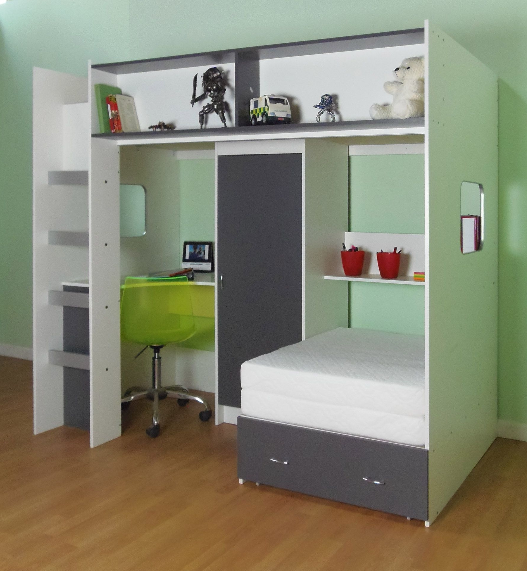 Most Up To Date High Sleeper Cabin Bed With Wardrobes Within Loft Style High Sleeper Bed Rutland White Or White Grey Or White (View 11 of 15)