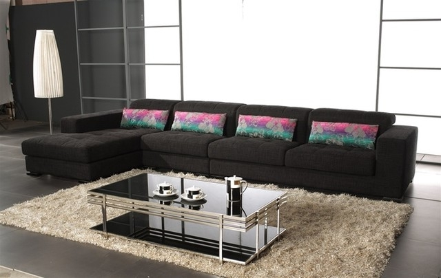 Most Up To Date Modern Microfiber Sectional Sofas For Sectional Sofa Design: Wonderful Black Microfiber Sectional Sofa (View 7 of 10)