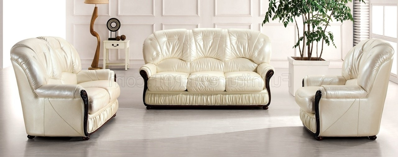 Most Up To Date Off White Leather Sofas Within Off White Leather Modern 43 Sofaesf W/options & Wood Framing (View 5 of 10)