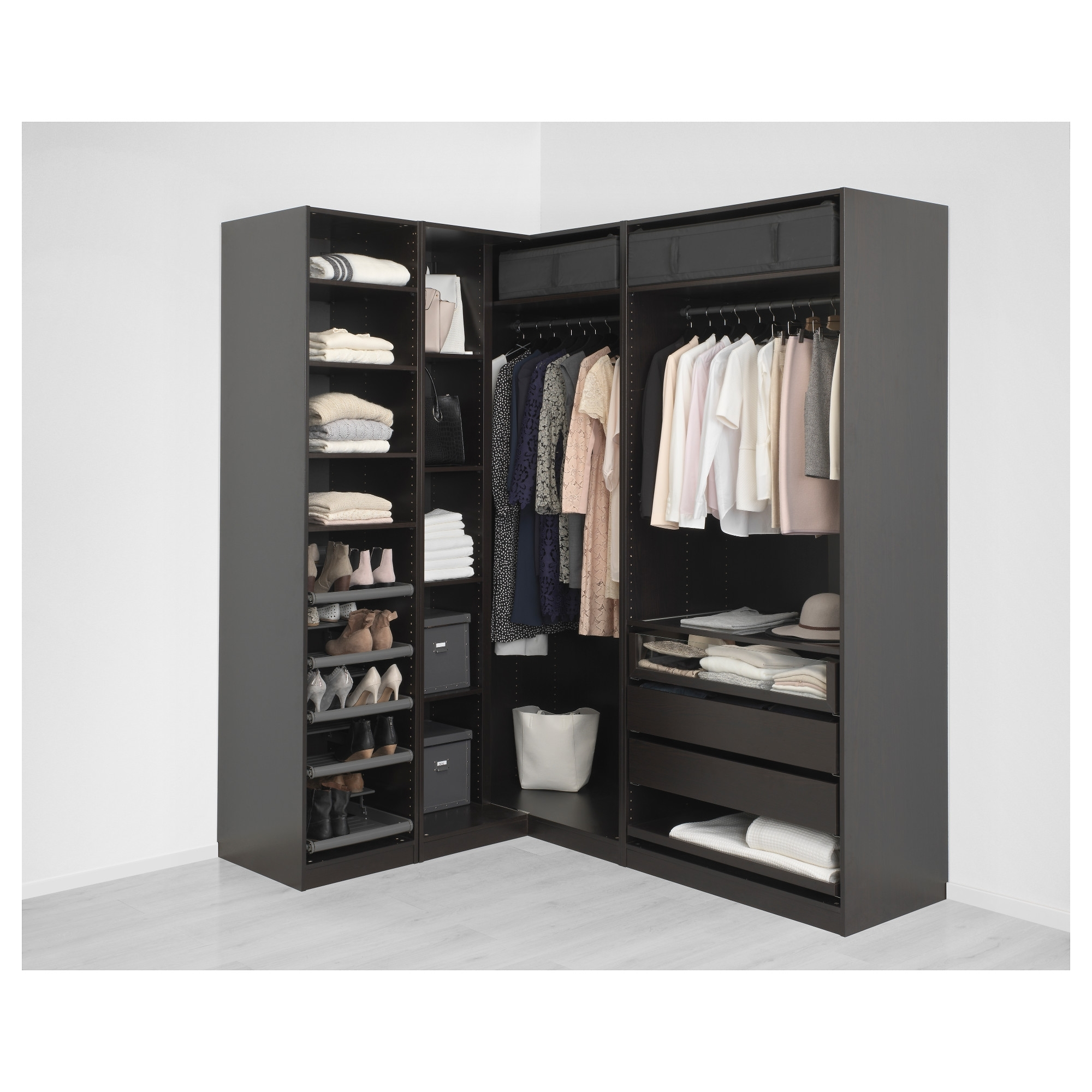 Most Up To Date Pax Corner Wardrobe Black Brown Undredal/undredal Glass 210 In Black Corner Wardrobes (View 11 of 15)