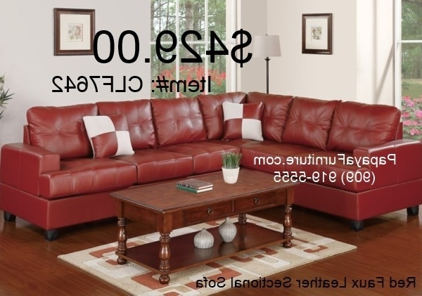 Most Up To Date Red Faux Leather Sectional Sofa With Reversible Loveseat/wedge In Red Faux Leather Sectionals (View 6 of 10)