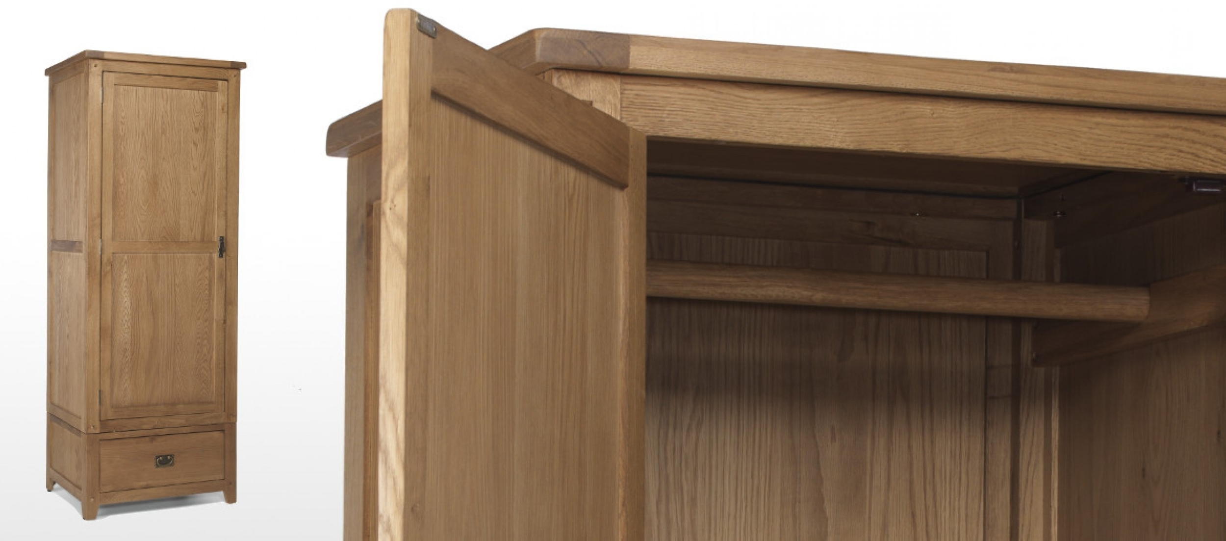 Most Up To Date Small Single Wardrobes Intended For Rustic Oak Single Wardrobe (View 8 of 15)