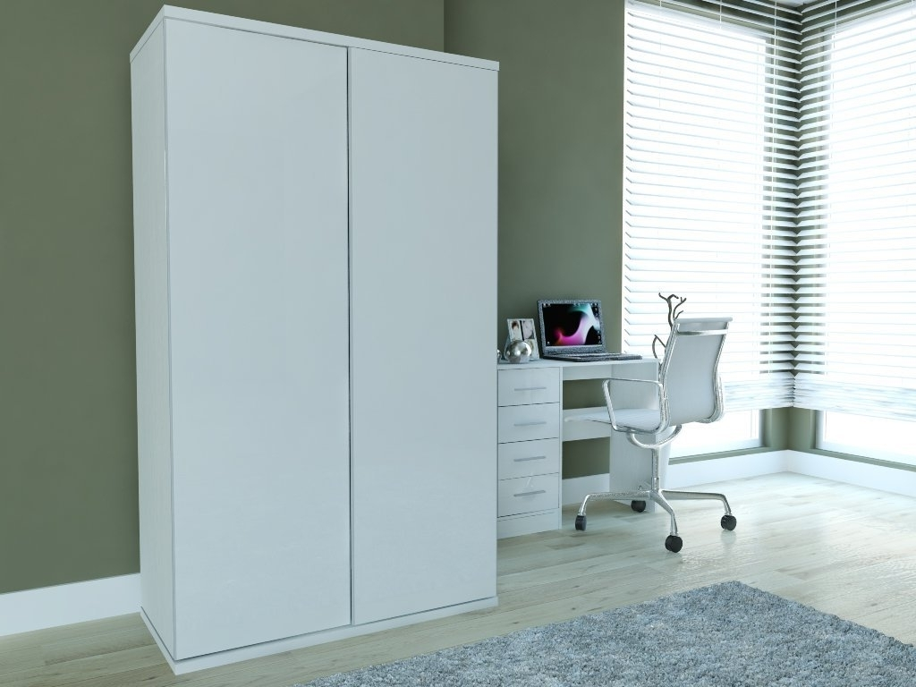 New Super High Gloss 2 Door Sliding Double Wardrobe In White In Widely Used Wardrobes White Gloss (View 12 of 15)