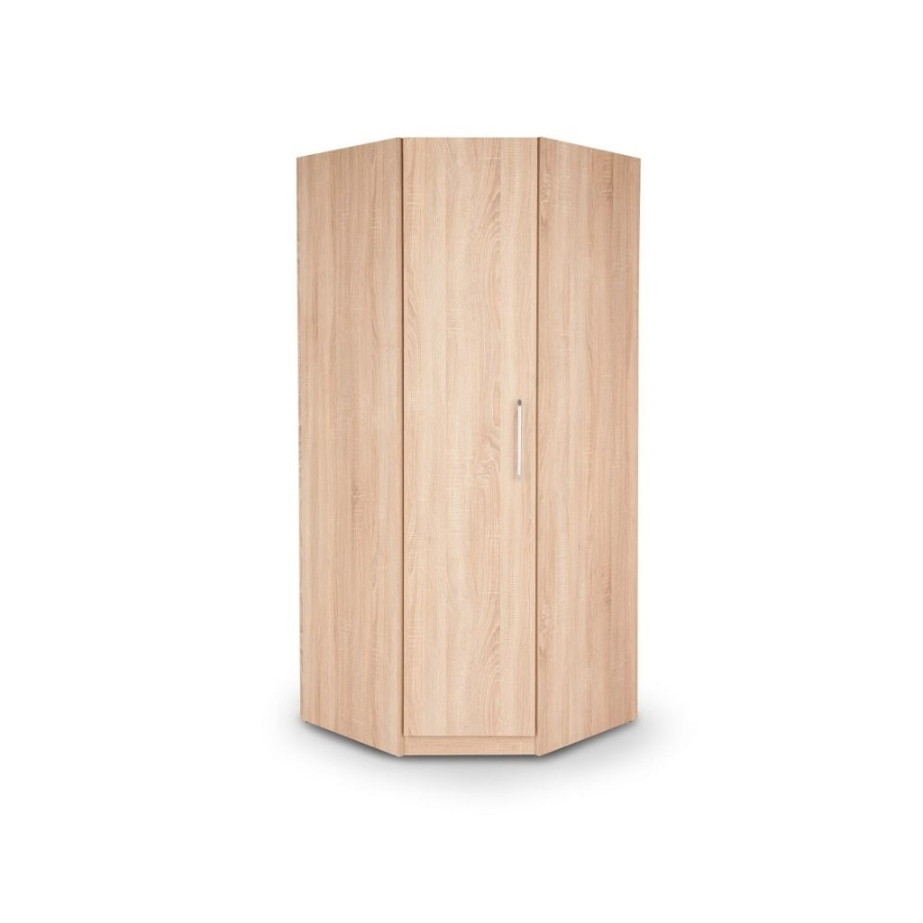 Newest 1 Door Corner Wardrobes Throughout Oak Effect 1 Door Corner Wardrobe W80Cm X D80Cm X H187Cm (View 12 of 15)