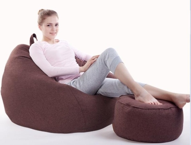 Newest Bean Bag Sofas For With Stool Ottoman Custom Lazy Sofa Creative Leisure Bean Bag With (View 7 of 10)