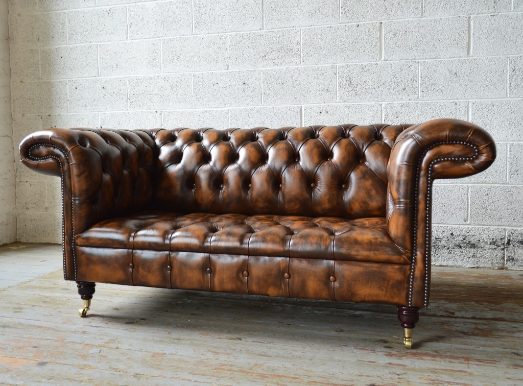 Newest Beautiful Brown Leather Chesterfield Sofa 71 In Home Kitchen In Leather Chesterfield Sofas (View 7 of 10)