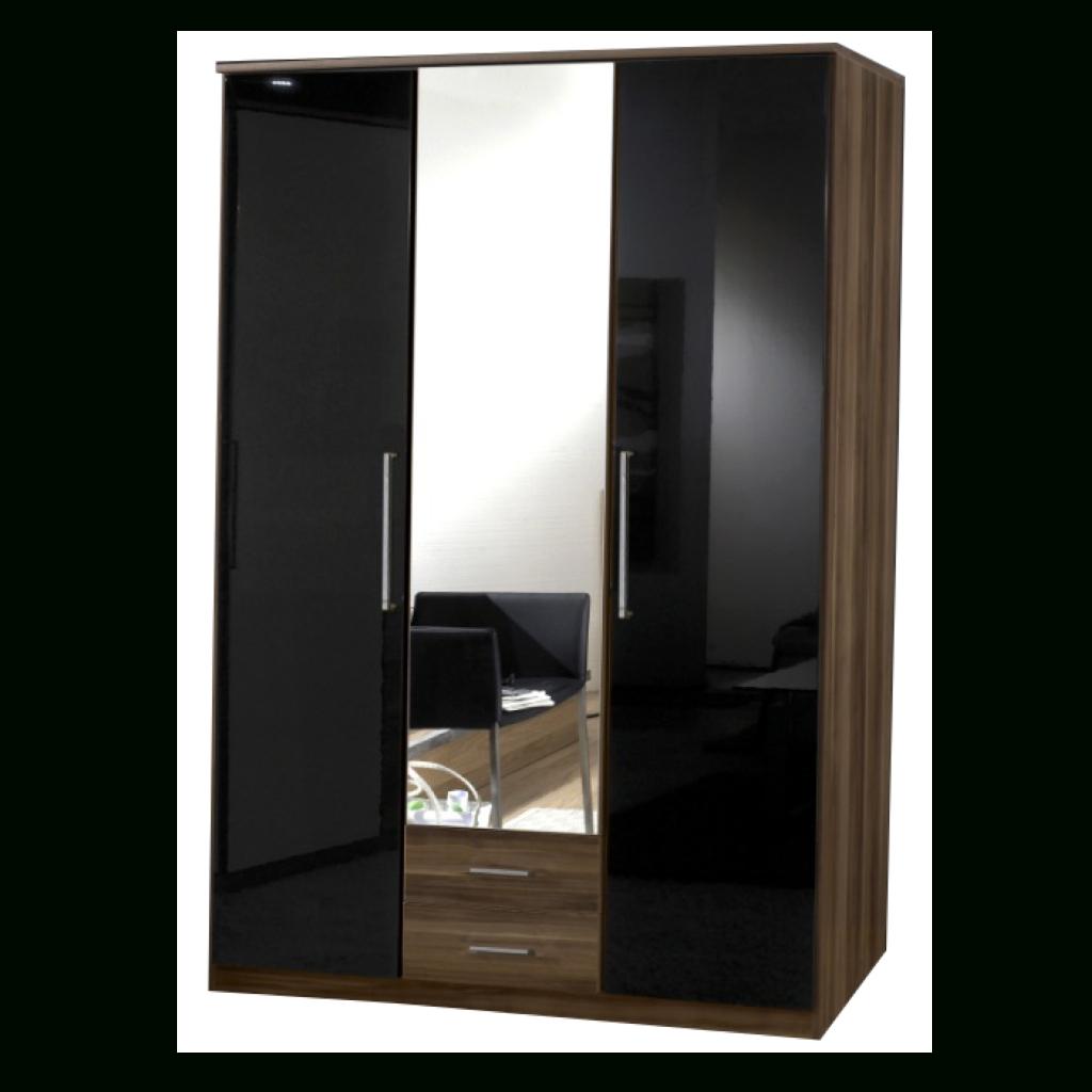 Newest Black Gloss Mirror Wardrobes Throughout Gamma Walnut & Black Gloss 3 Door 2 Drawer Wardrobe (View 5 of 15)