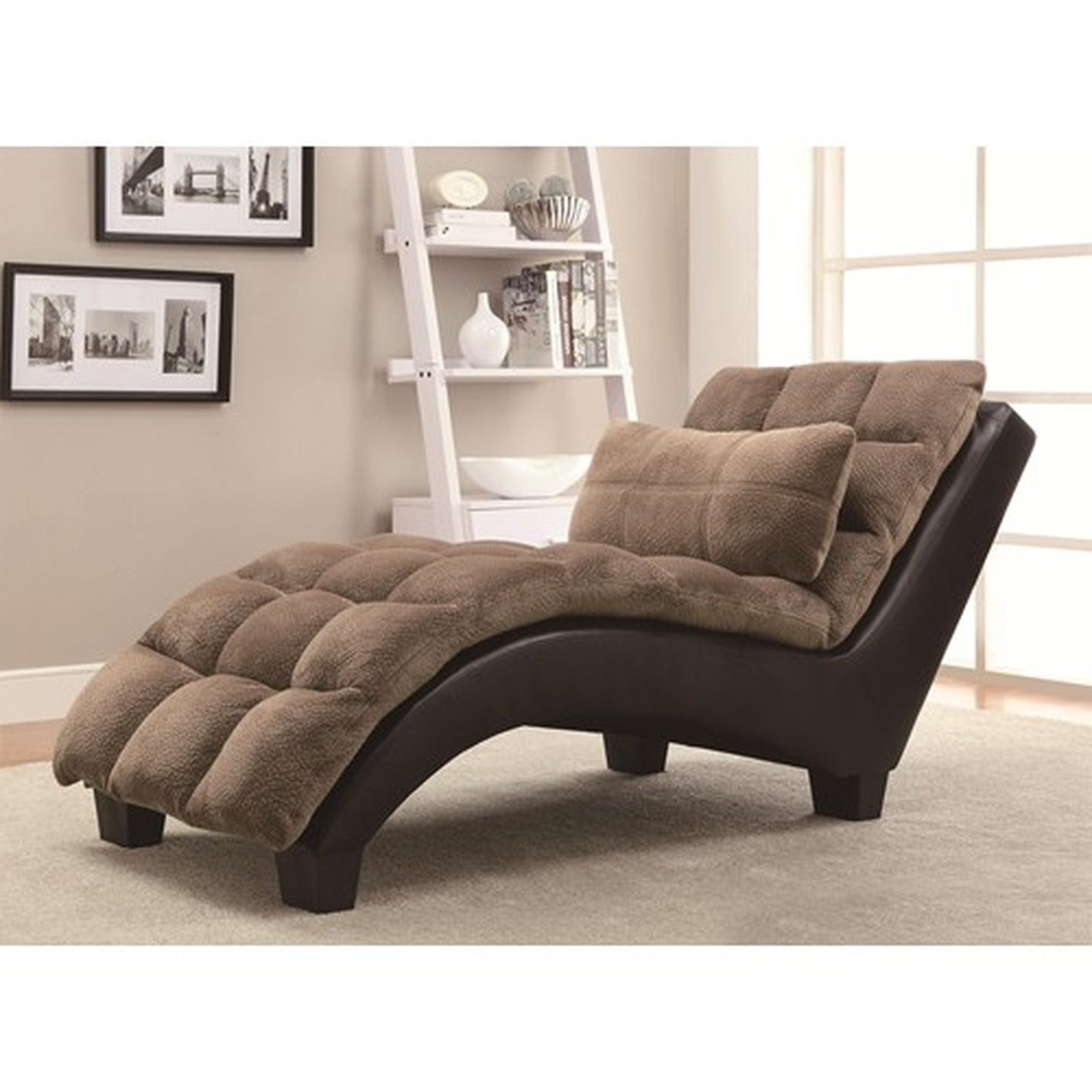 Newest Brown Chaise Lounges Intended For Brown Fabric Chaise Lounge – Steal A Sofa Furniture Outlet Los (View 9 of 15)