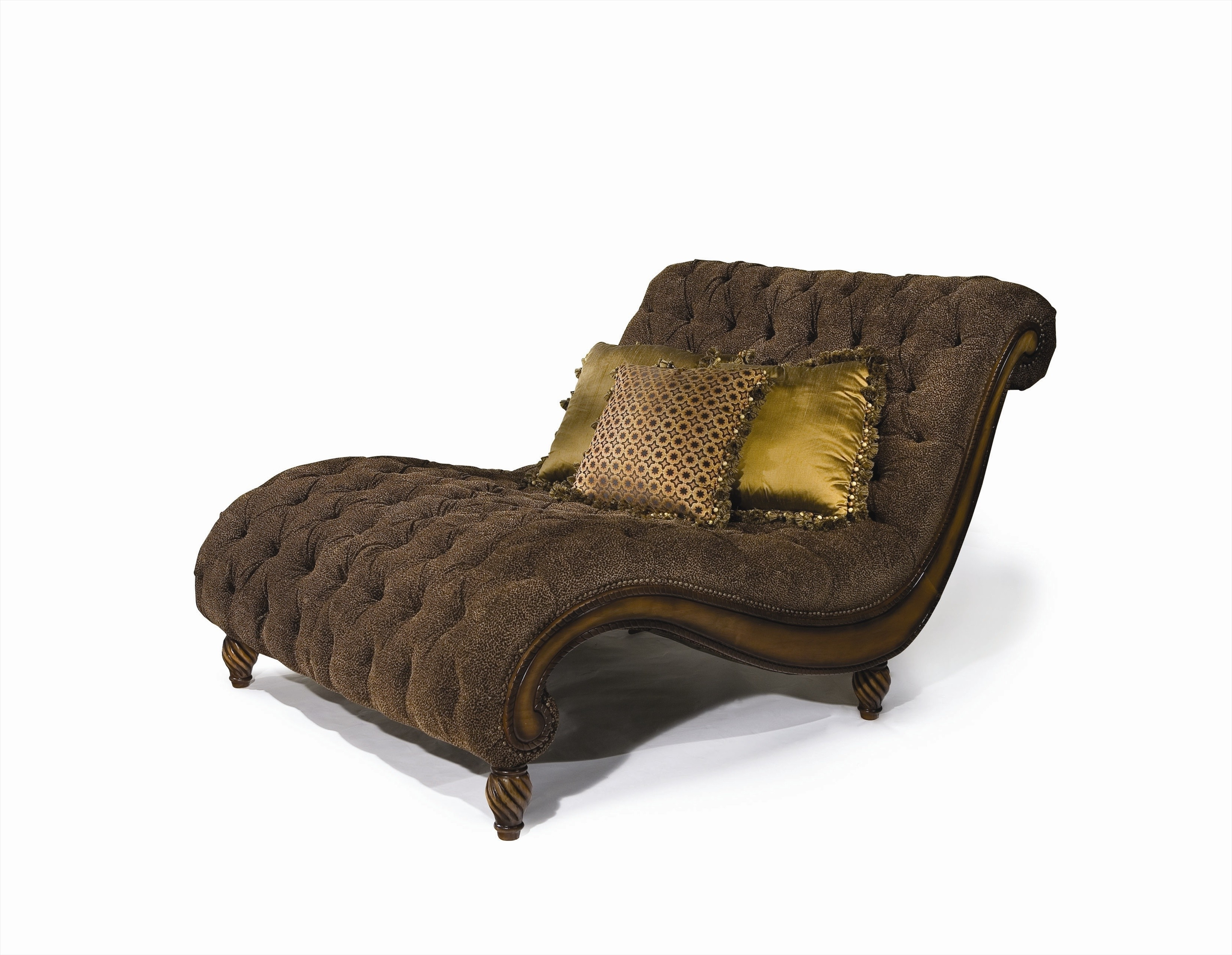 Newest Curved Brown Tufted Velvet Chaise Lounge Chairs With Rolled Back Intended For Velvet Chaise Lounge Chairs (View 11 of 15)