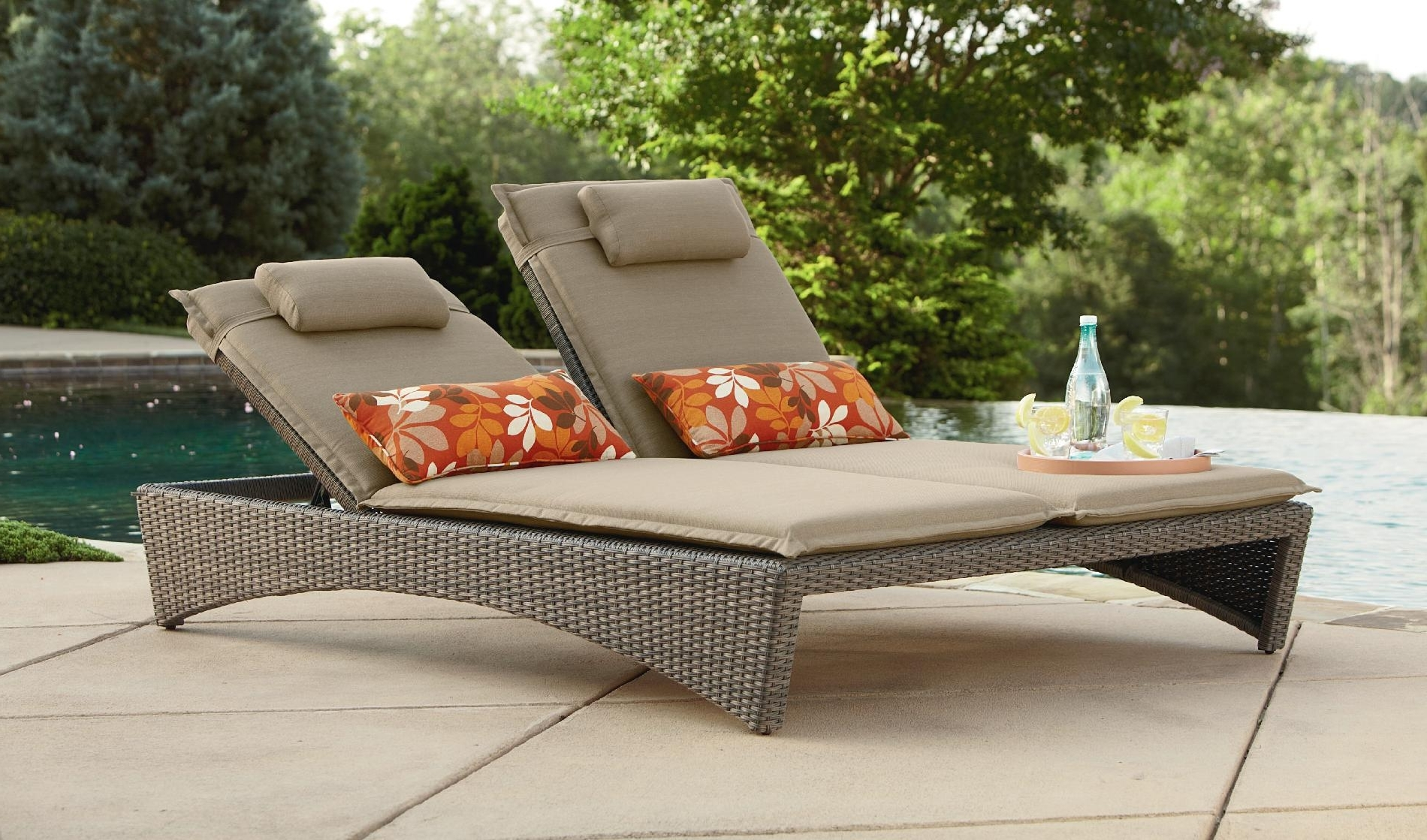 Newest Double Chaise Lounge Chairs Within Picture 3 Of 35 – Walmart Patio Lounge Chairs Luxury Patio (View 11 of 15)