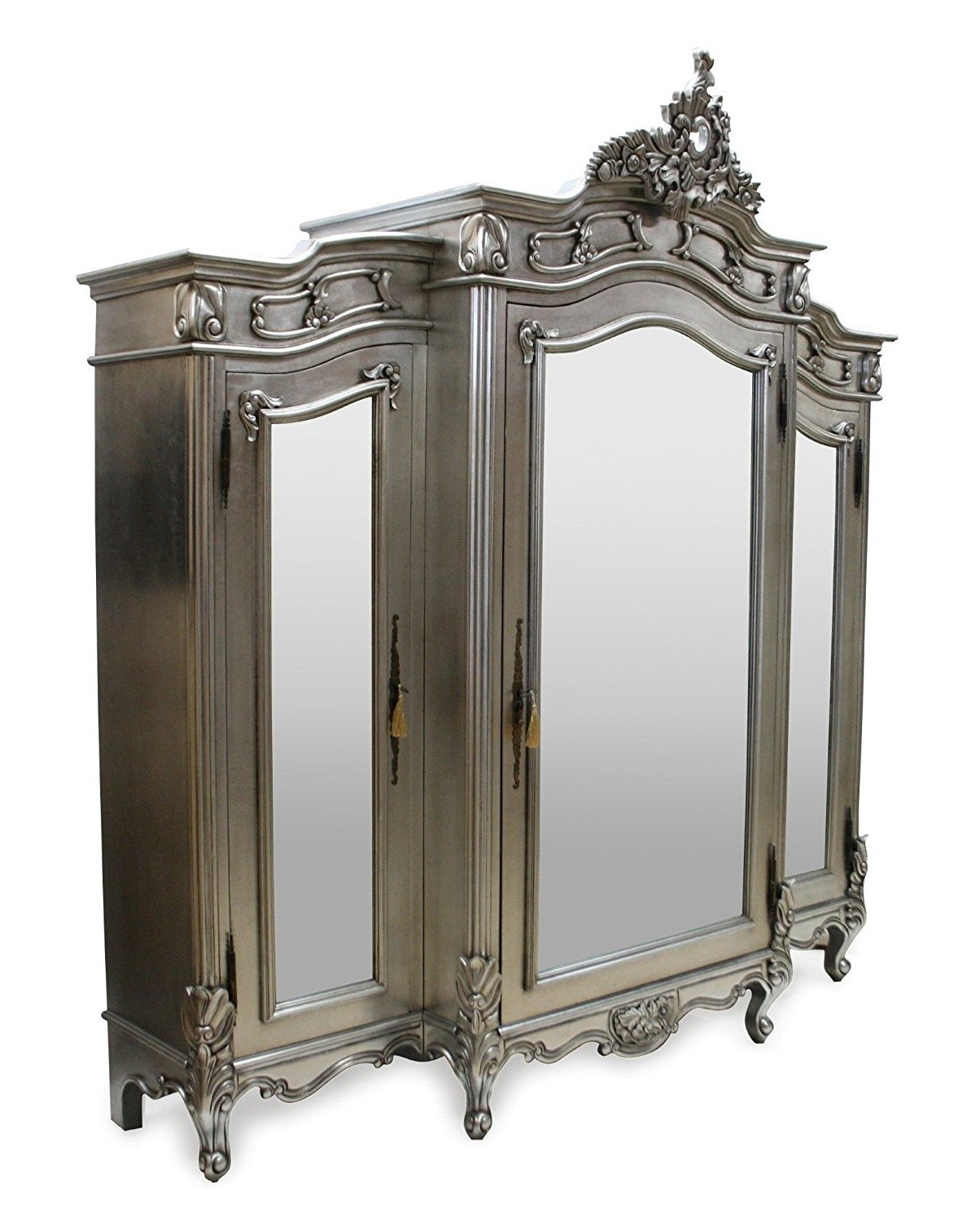 Newest French Style Furniture 3 Door Mirrored Wardrobe Silver: Amazon (View 4 of 15)