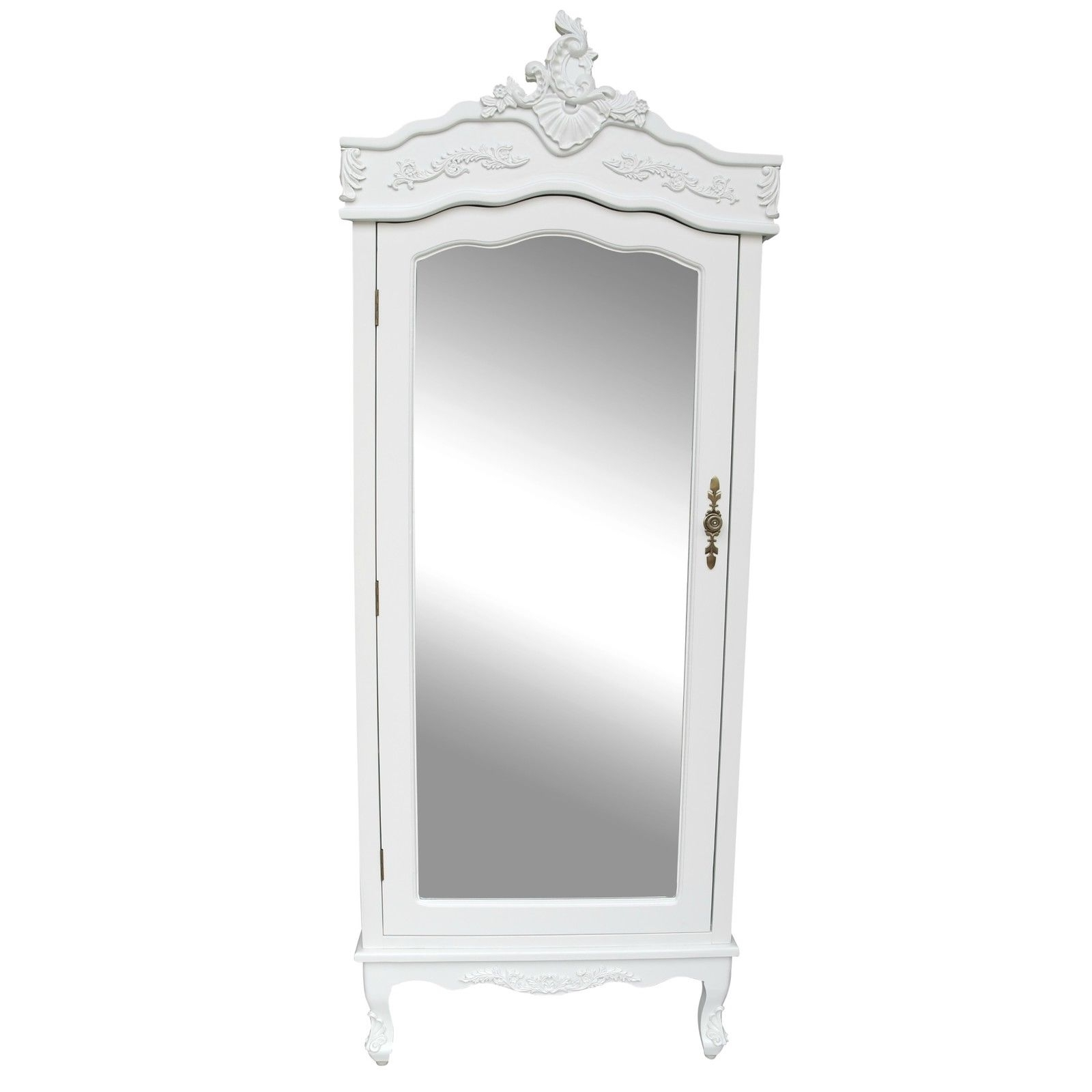 Newest French White Single Door Armoire With Mirrored Door Furniture – La In Single White Wardrobes With Mirror (View 5 of 15)