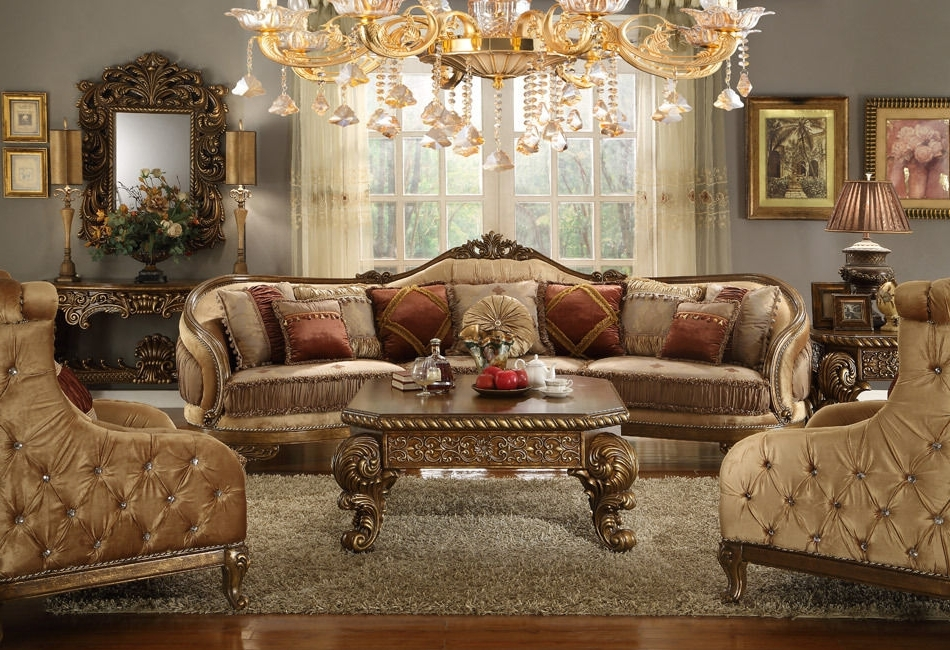 Newest Homey Design Hd 458 Traditional Vienna Wood Trim Mansion Sofa And Regarding Traditional Sofas And Chairs (View 7 of 10)
